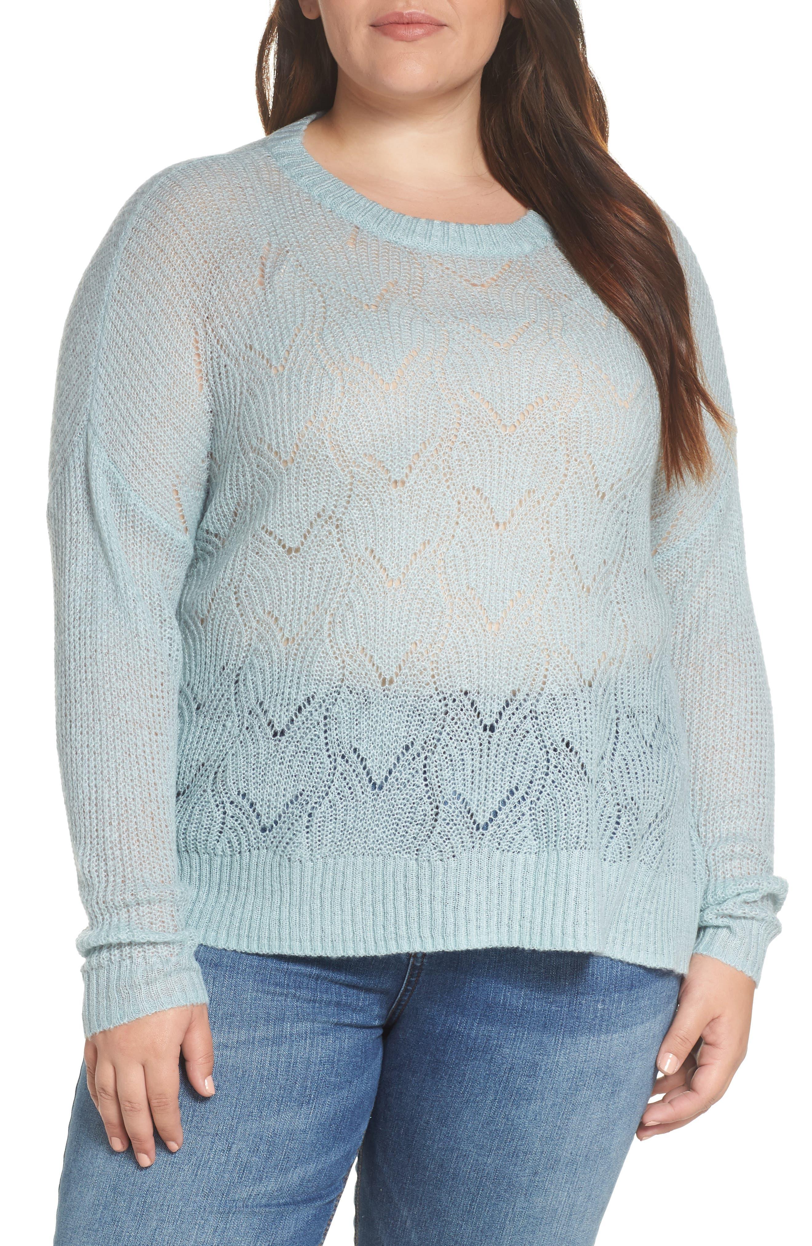 BP., Pointelle Stitch Sweater, Alternate thumbnail 2, color, BLUE CLOUD