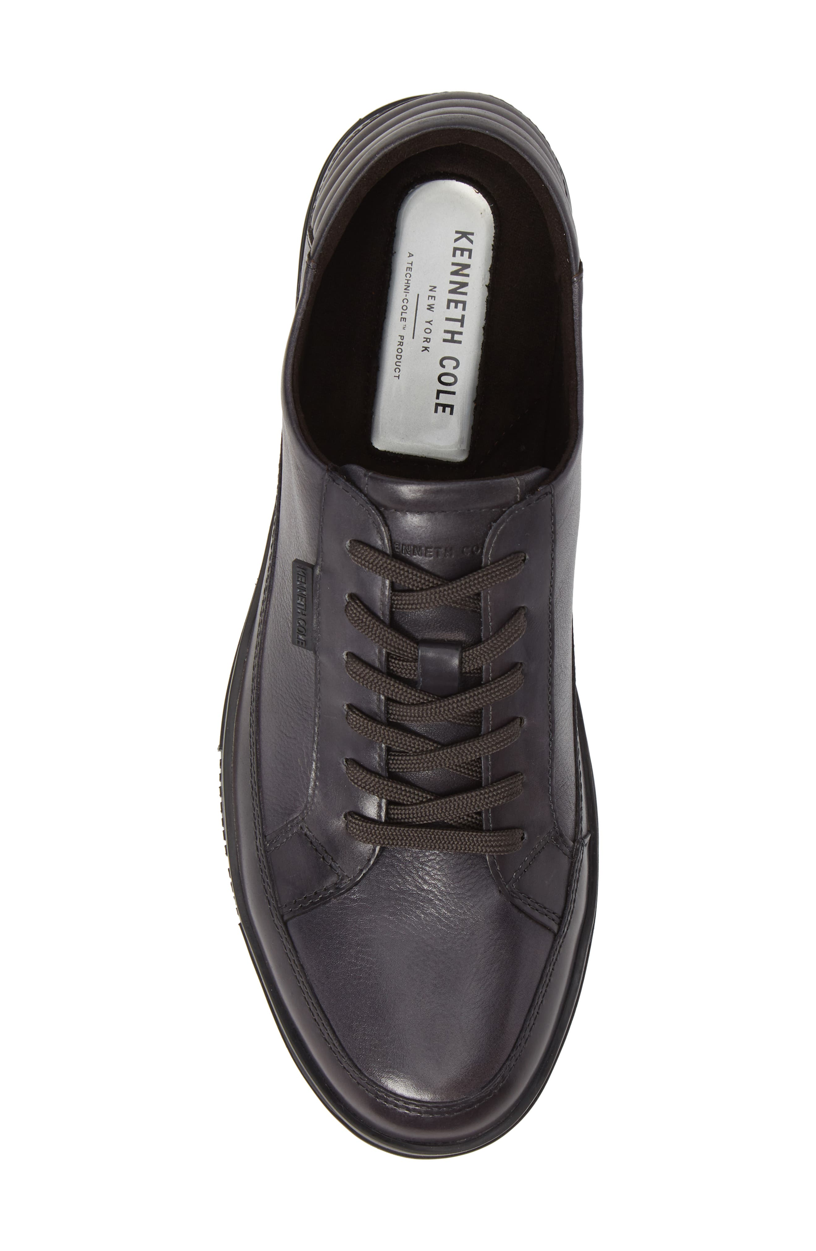 KENNETH COLE NEW YORK, Brand Stand Low Top Sneaker, Alternate thumbnail 5, color, GREY TUMBLED LEATHER/ LEATHER