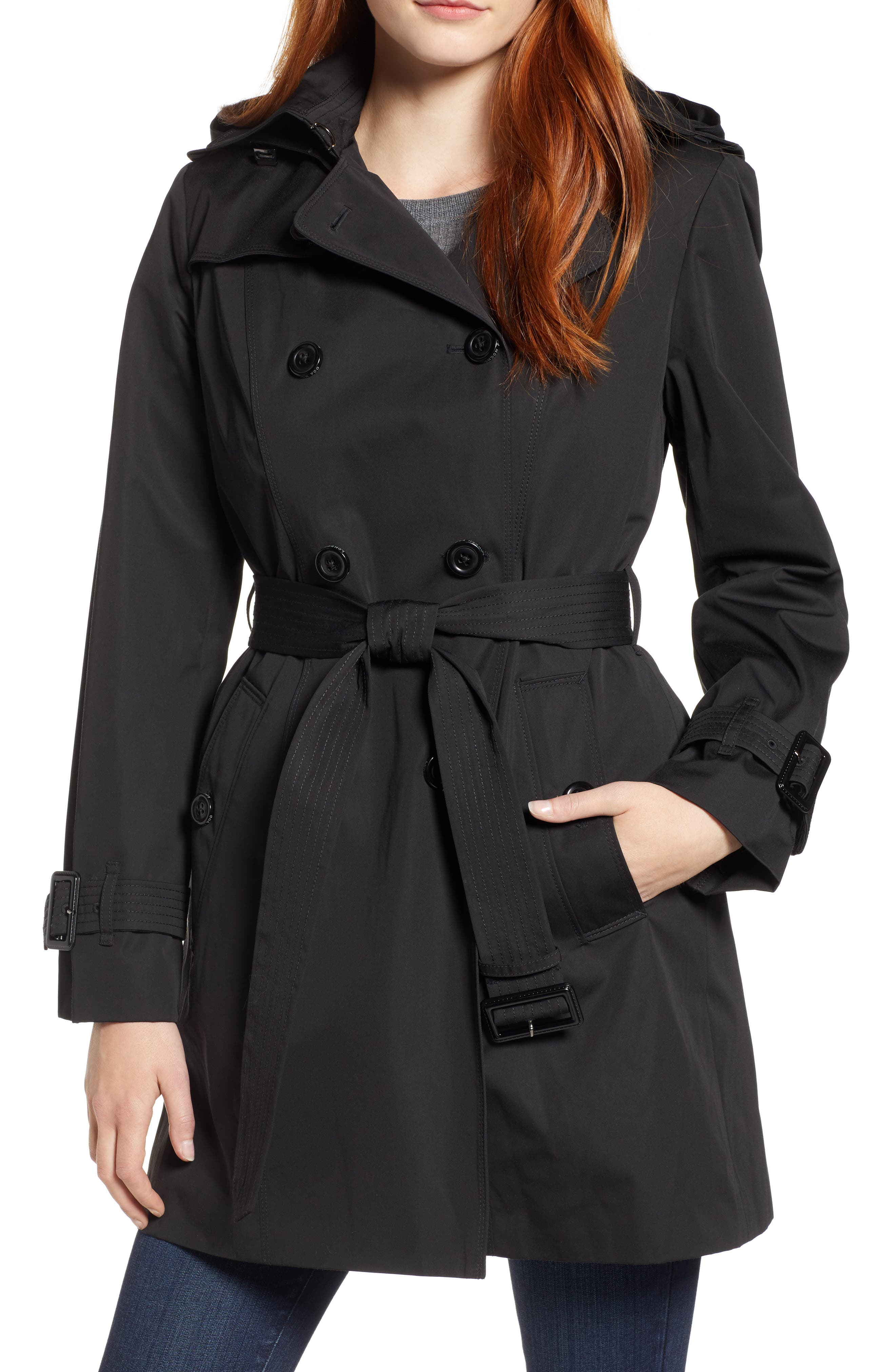 LONDON FOG, Trench Coat with Detachable Liner & Hood, Main thumbnail 1, color, BLACK