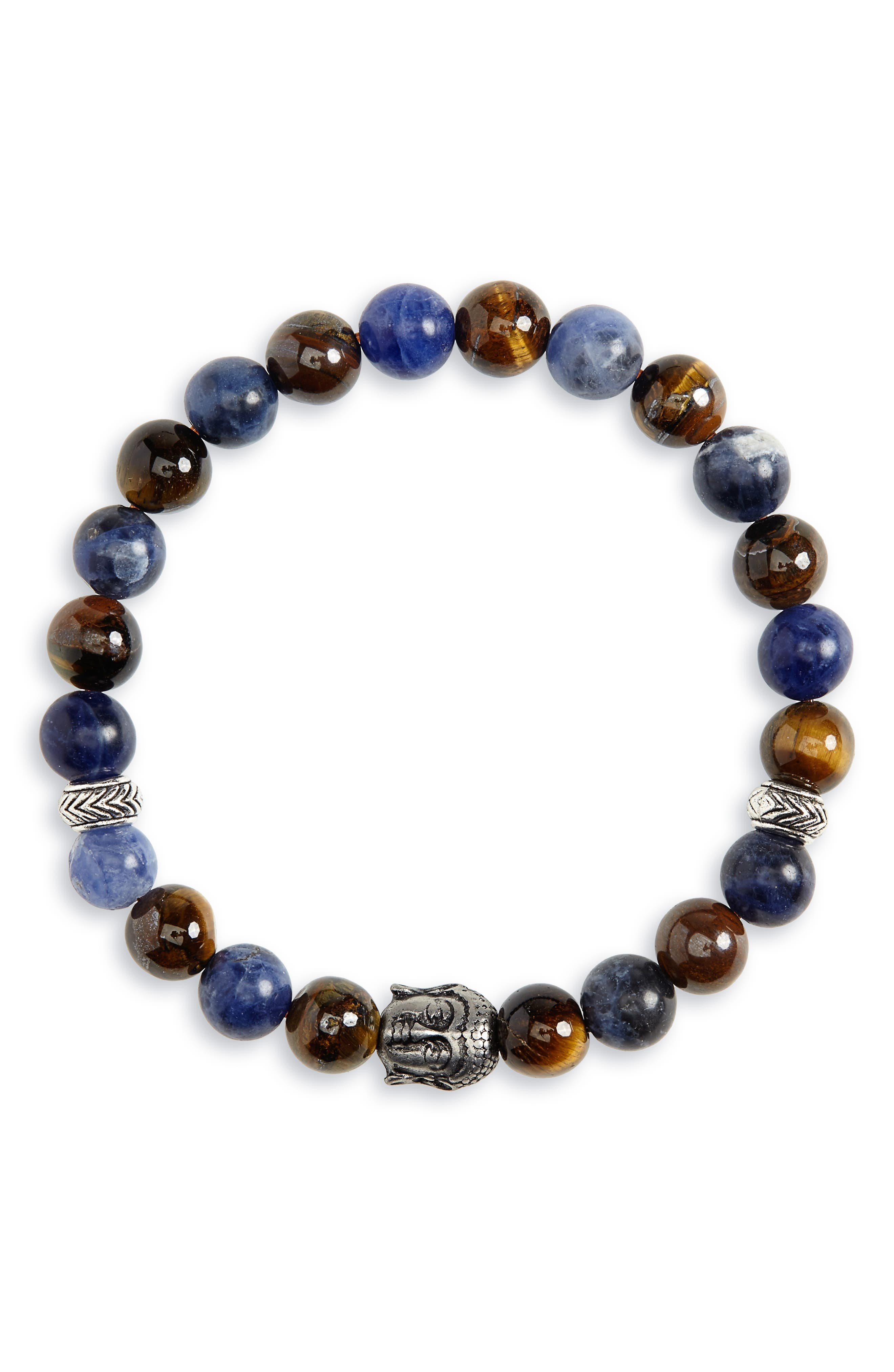 NORDSTROM MEN'S SHOP Beaded Bracelet, Main, color, BROWN/ NAVY