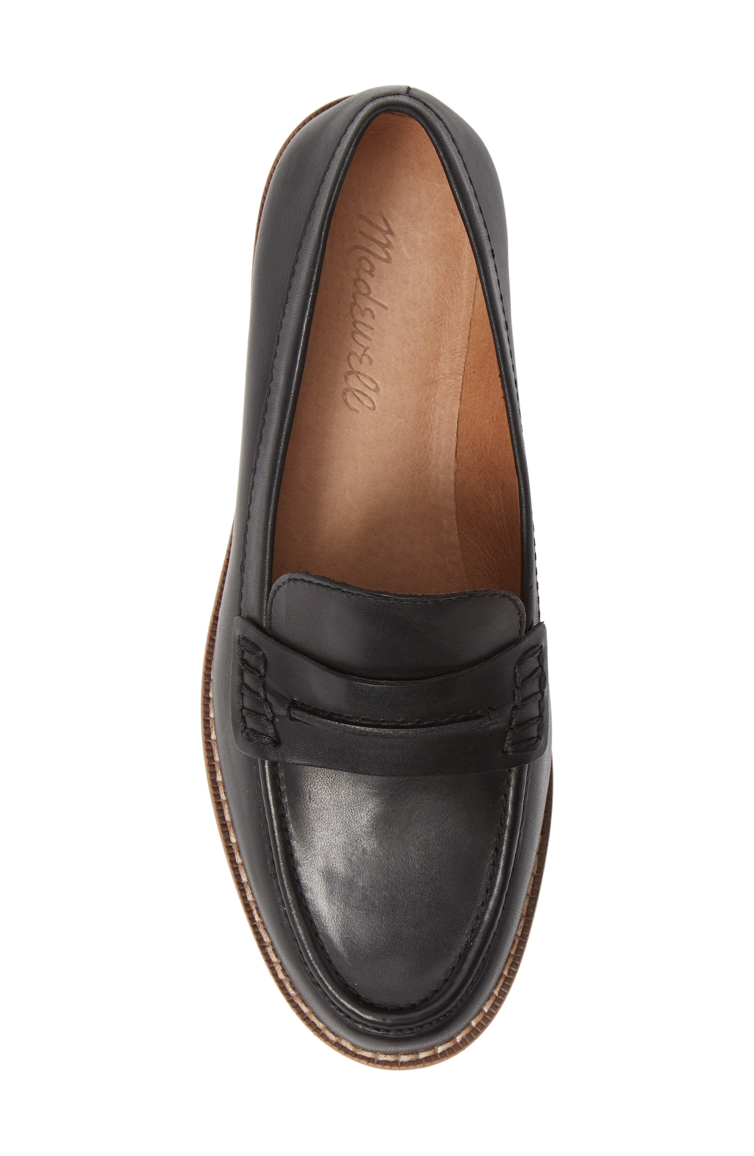 MADEWELL, The Elinor Loafer, Alternate thumbnail 5, color, BLACK LEATHER