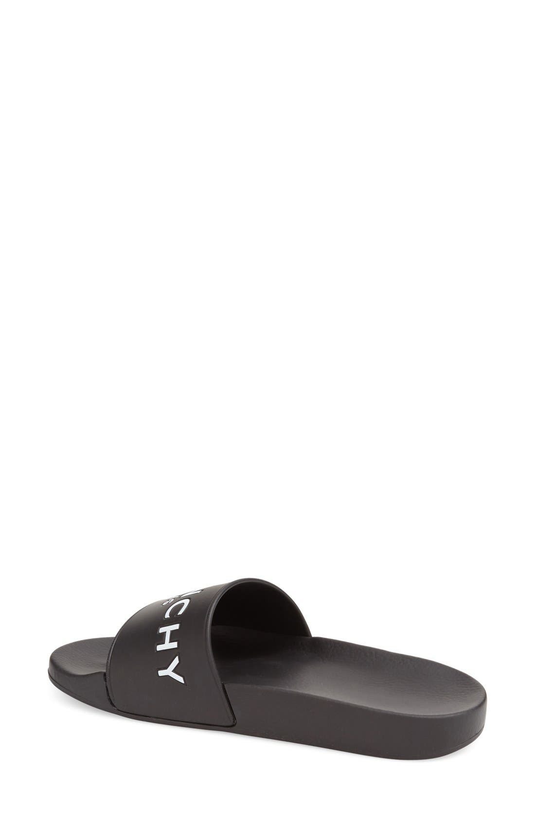 GIVENCHY, Logo Slide, Alternate thumbnail 2, color, BLACK