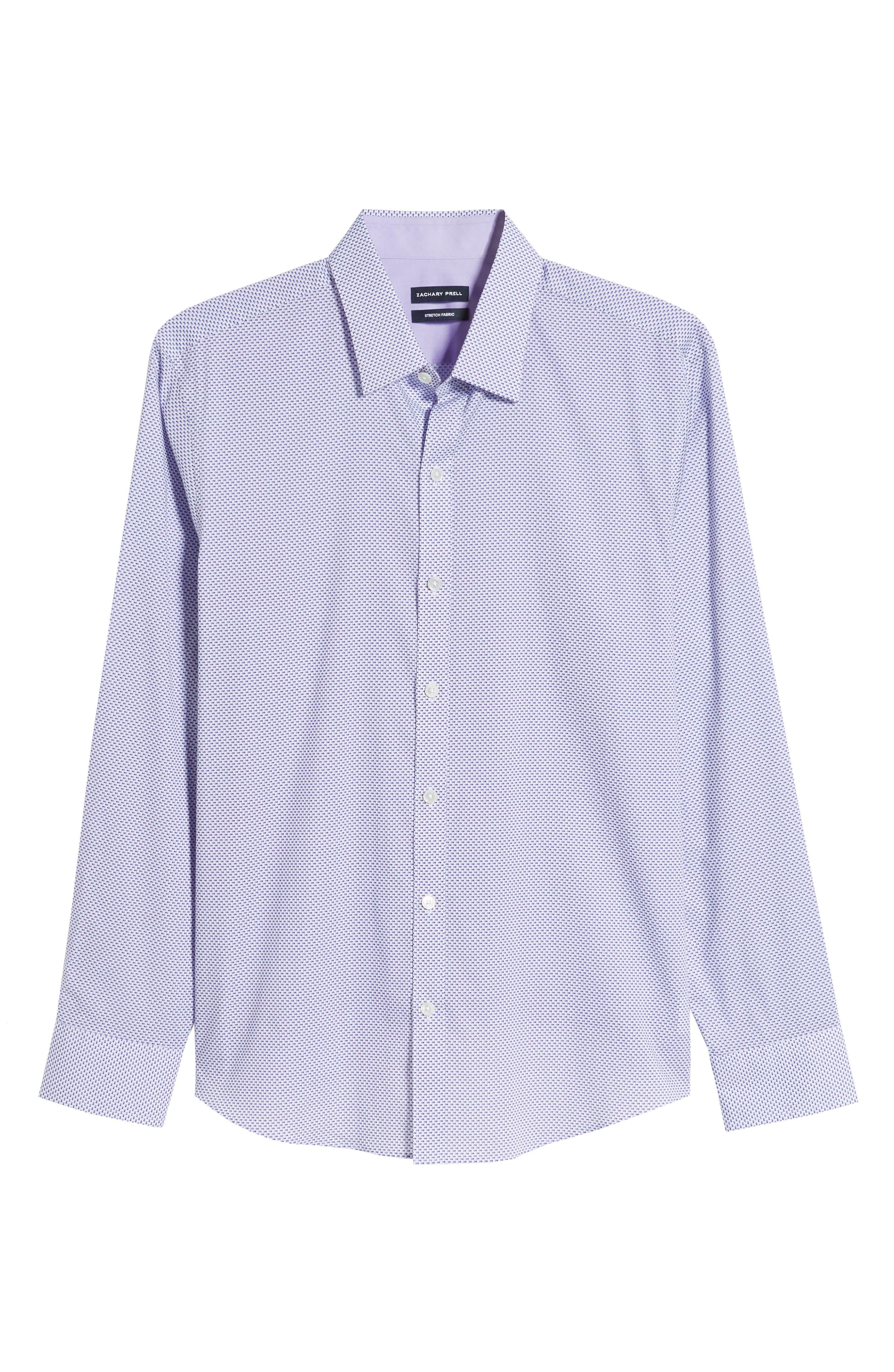 ZACHARY PRELL, Wilson Regular Fit Micro Print Sport Shirt, Alternate thumbnail 5, color, PURPLE