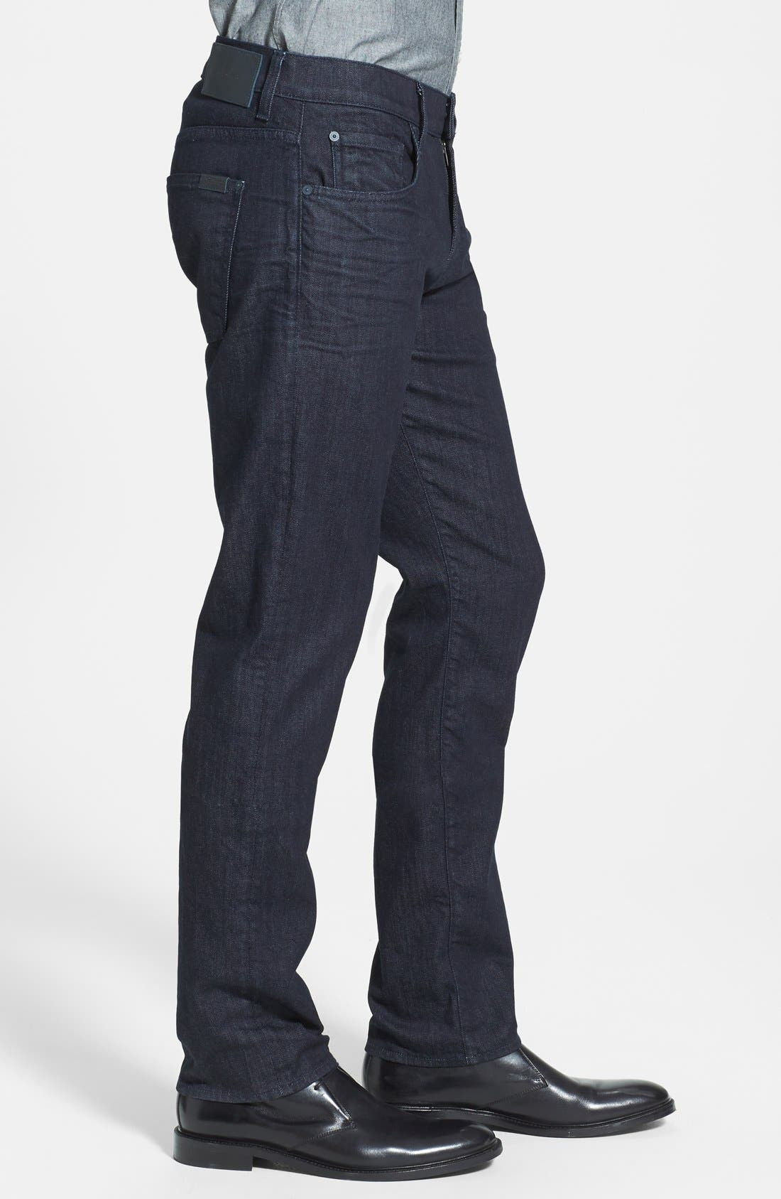 7 FOR ALL MANKIND<SUP>®</SUP>, The Straight - Luxe Performance Slim Straight Leg Jeans, Alternate thumbnail 7, color, DEEP WELL