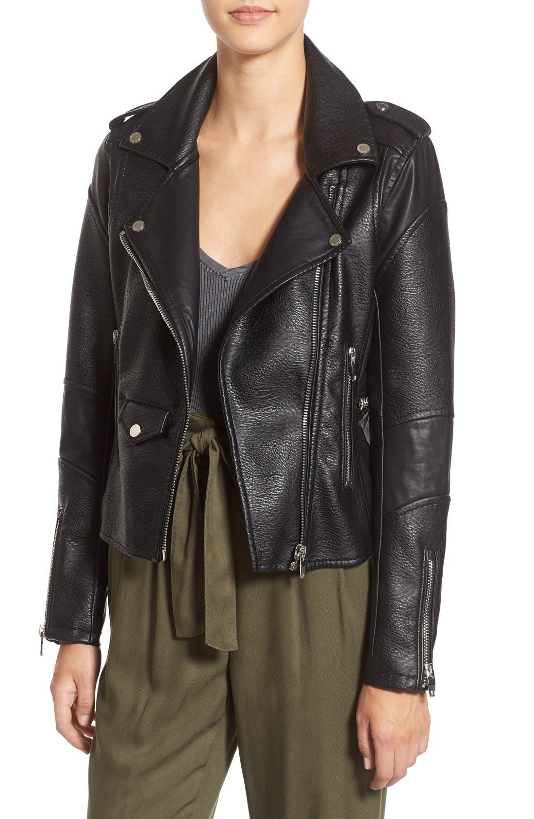 BLANKNYC, 'Easy Rider' Faux Leather Moto Jacket, Alternate thumbnail 10, color, 001