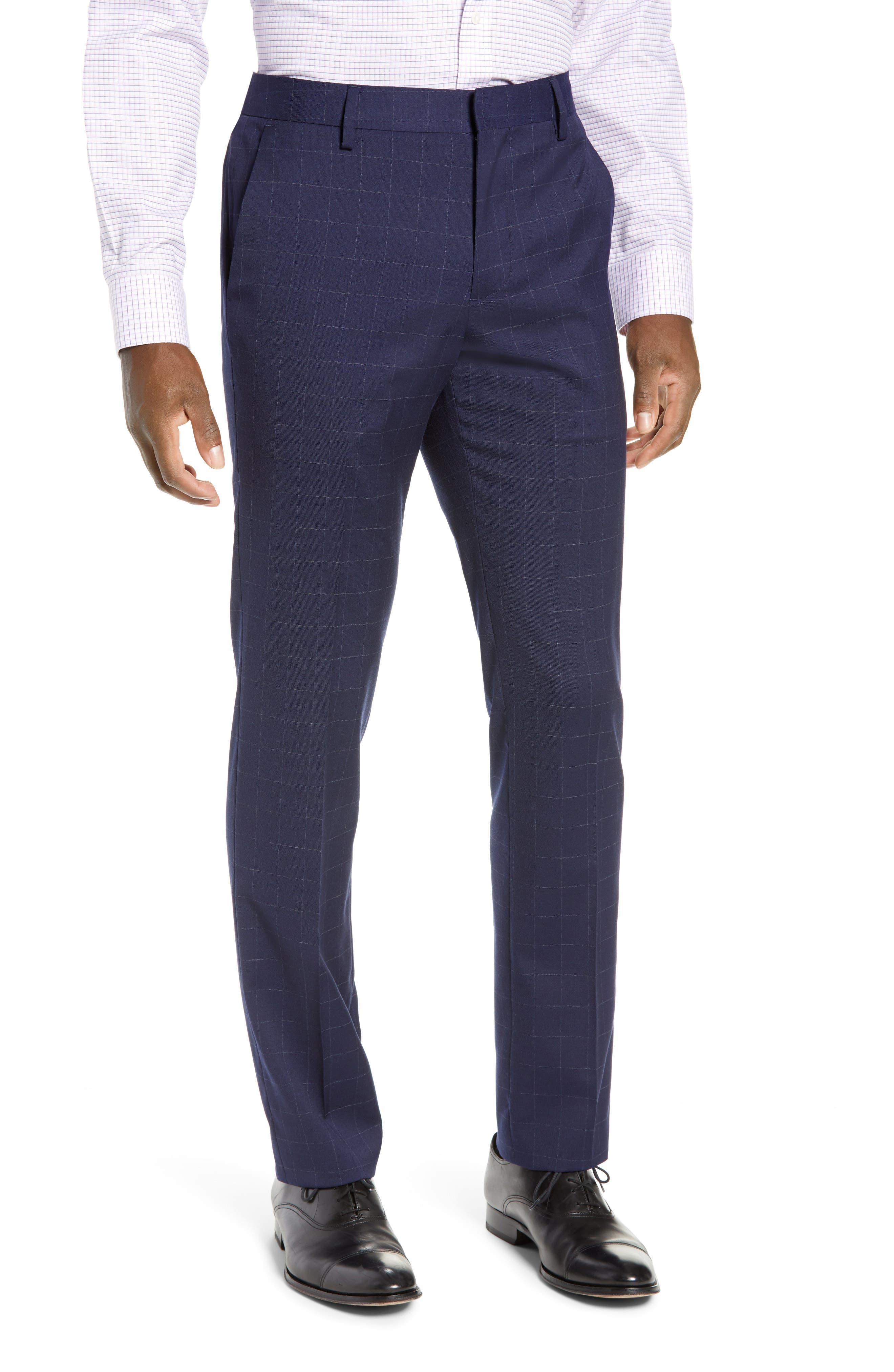 BONOBOS, Jetsetter Slim Fit Stretch Suit Pants, Main thumbnail 1, color, NAVY CHALK WINDOWPANE
