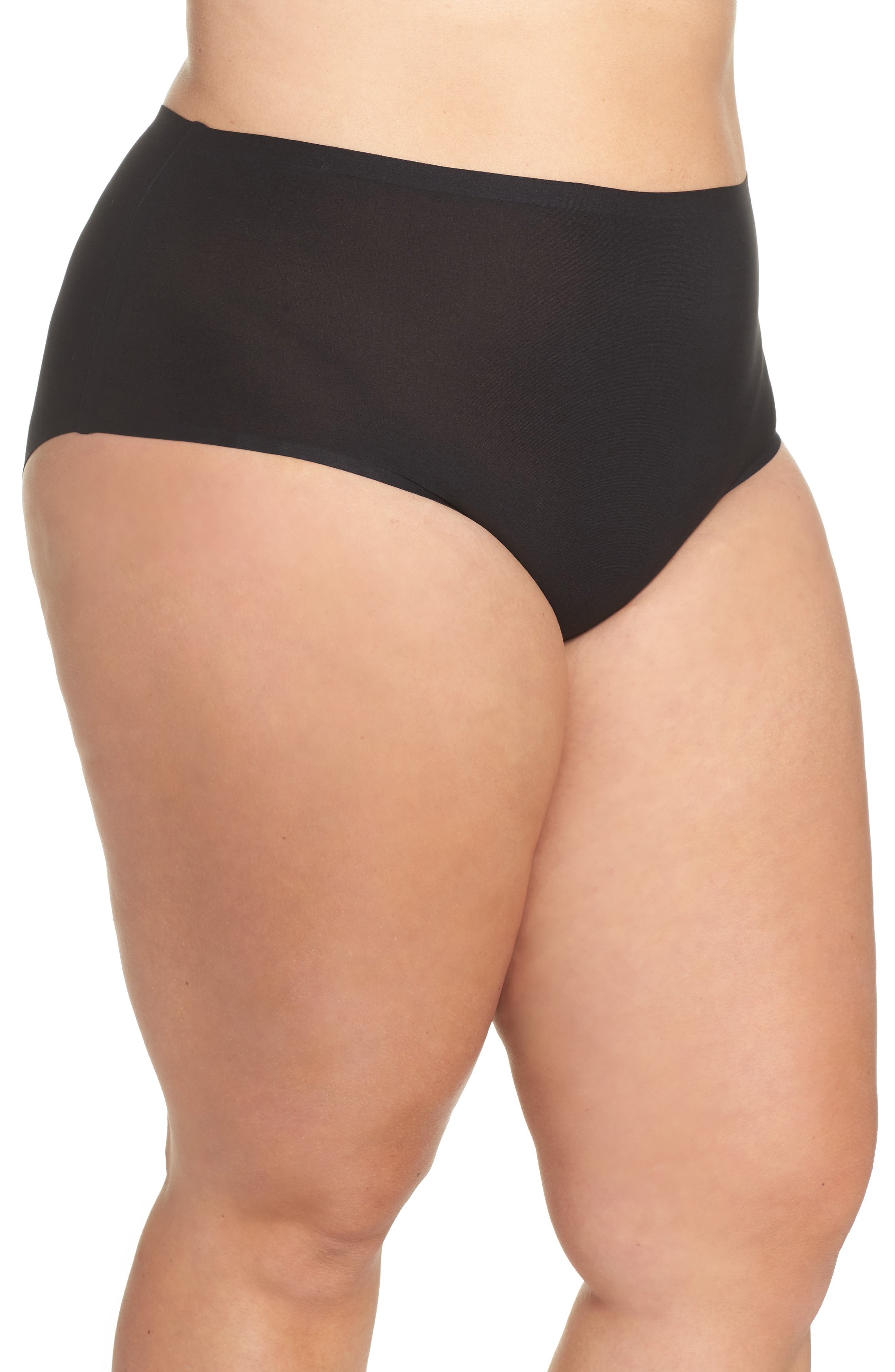 CHANTELLE LINGERIE, Soft Stretch High Waist Seamless Briefs, Alternate thumbnail 3, color, BLACK