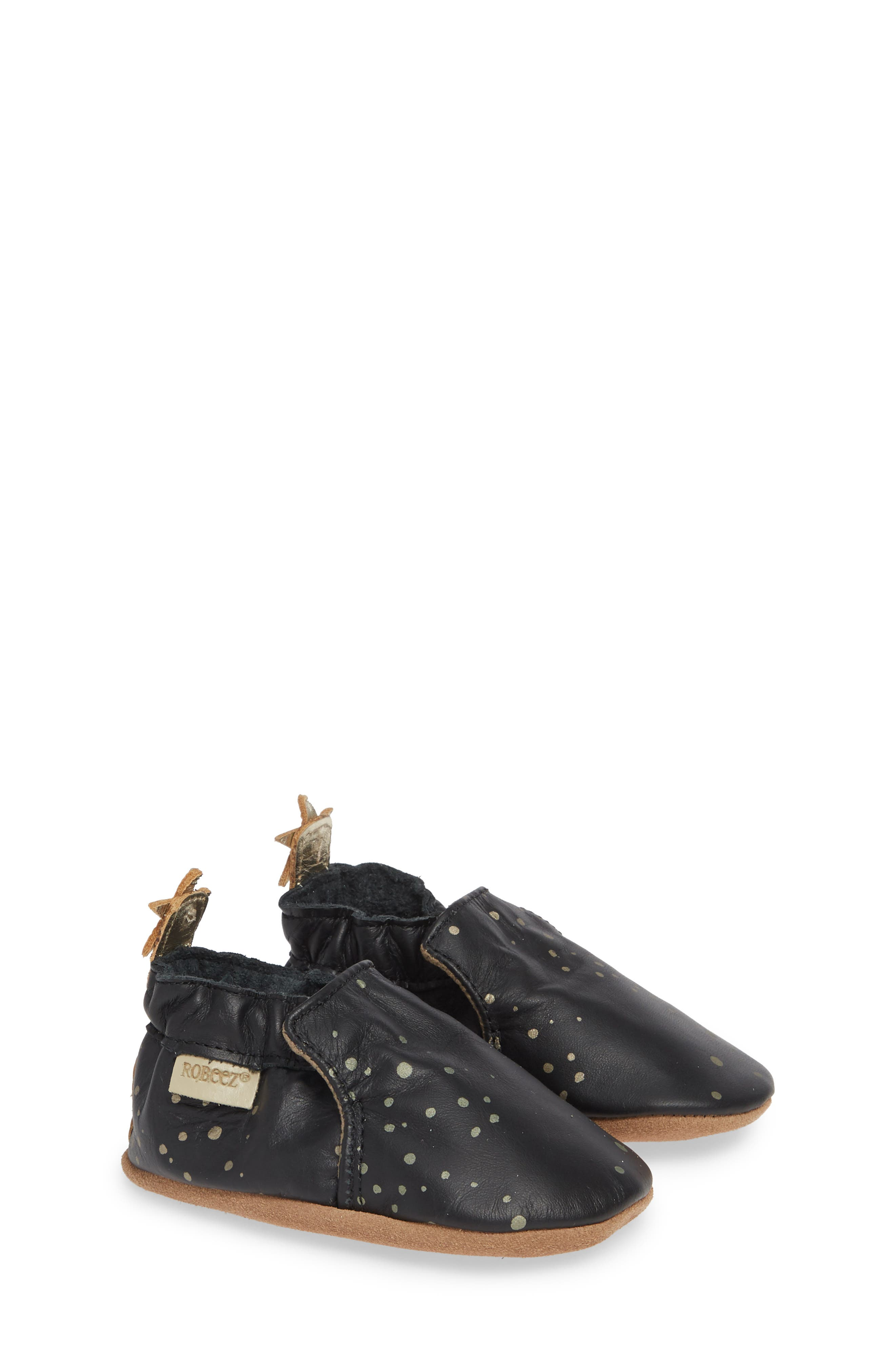 ROBEEZ<SUP>®</SUP>, Galaxy Girl Moccasin Crib Shoe, Alternate thumbnail 2, color, BLACK