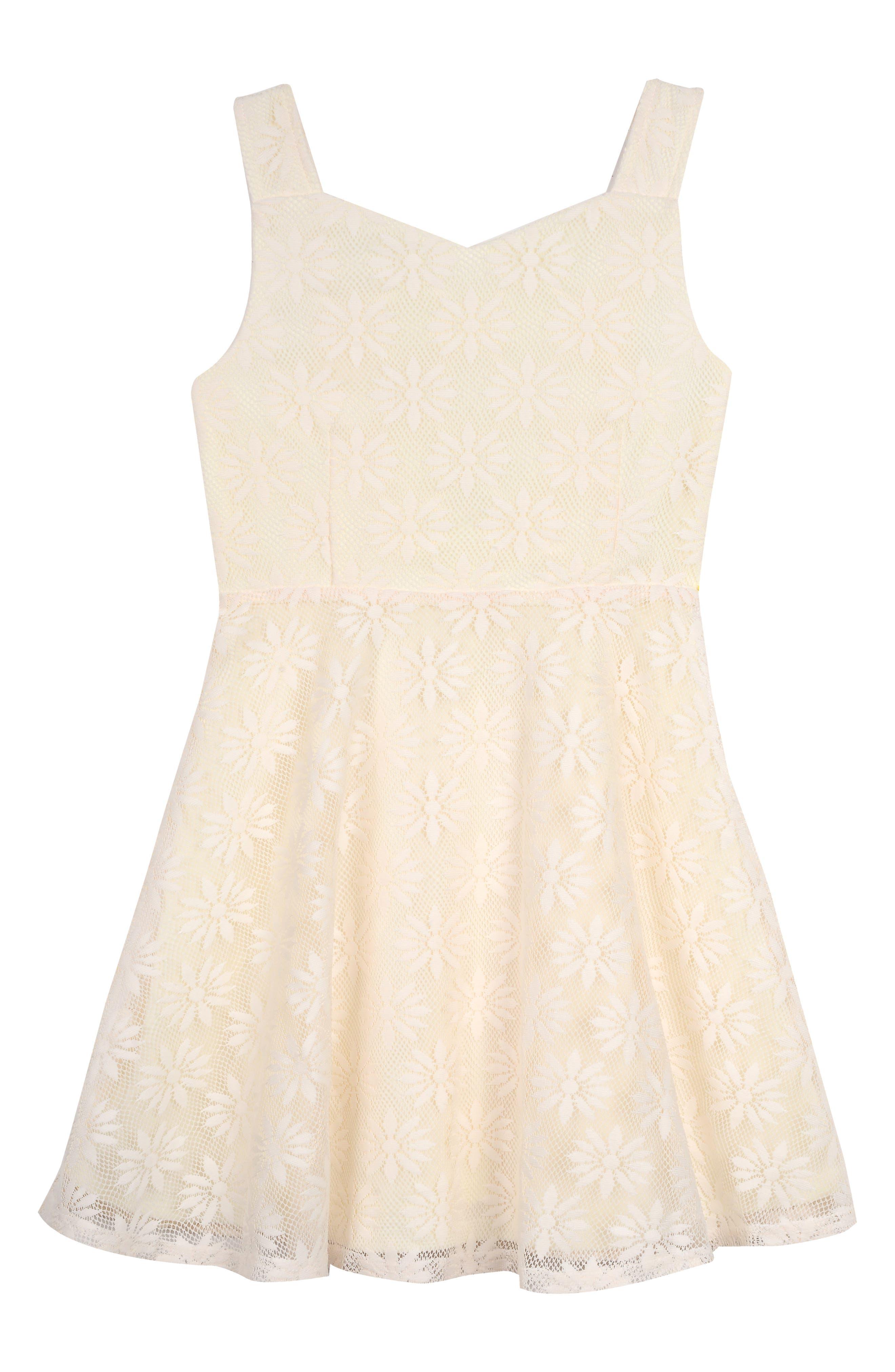 PIPPA & JULIE, Daisy Mesh Dress, Main thumbnail 1, color, YELLOW