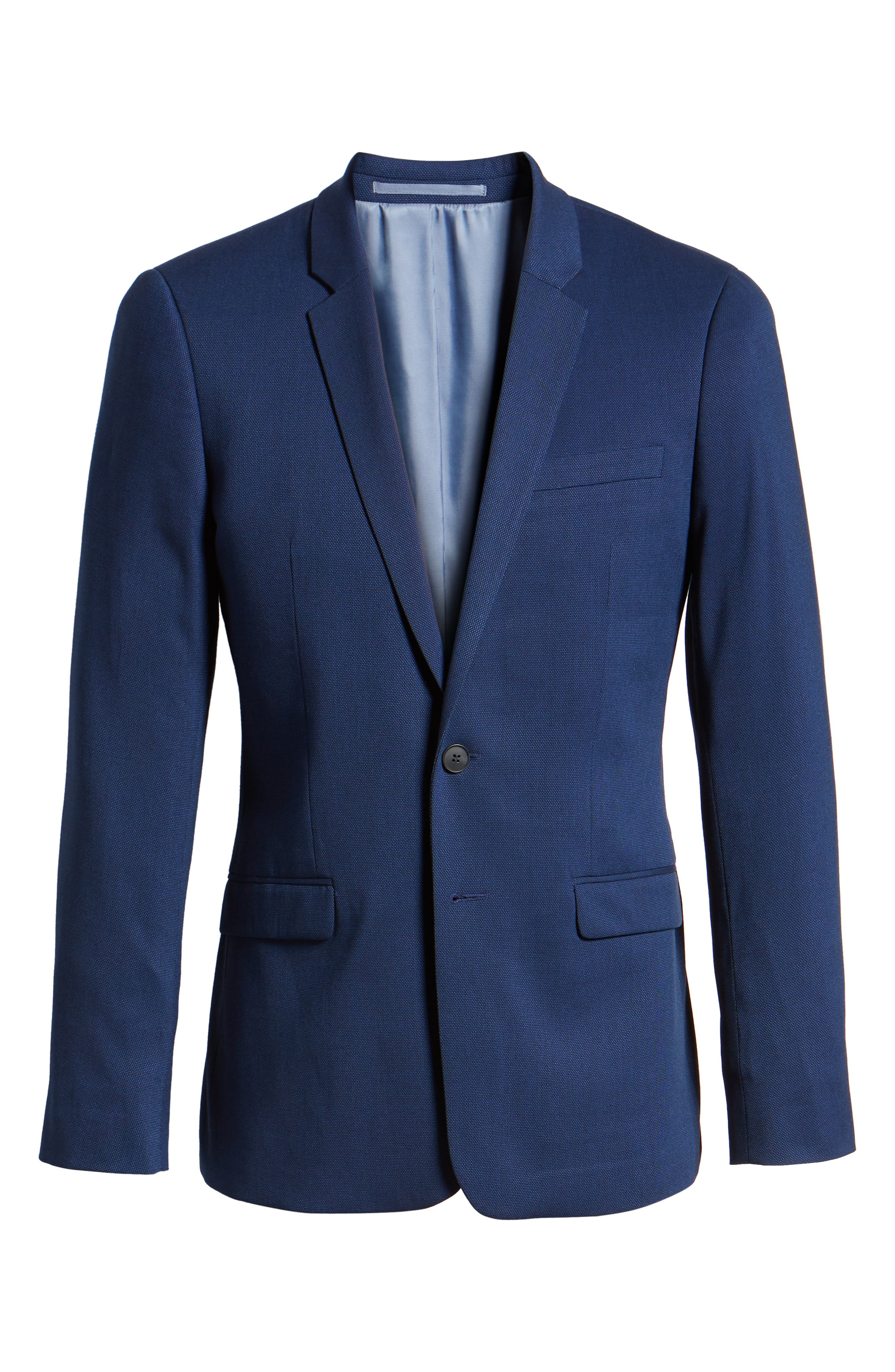 TOPMAN, Skinny Fit Suit Jacket, Alternate thumbnail 6, color, BLUE