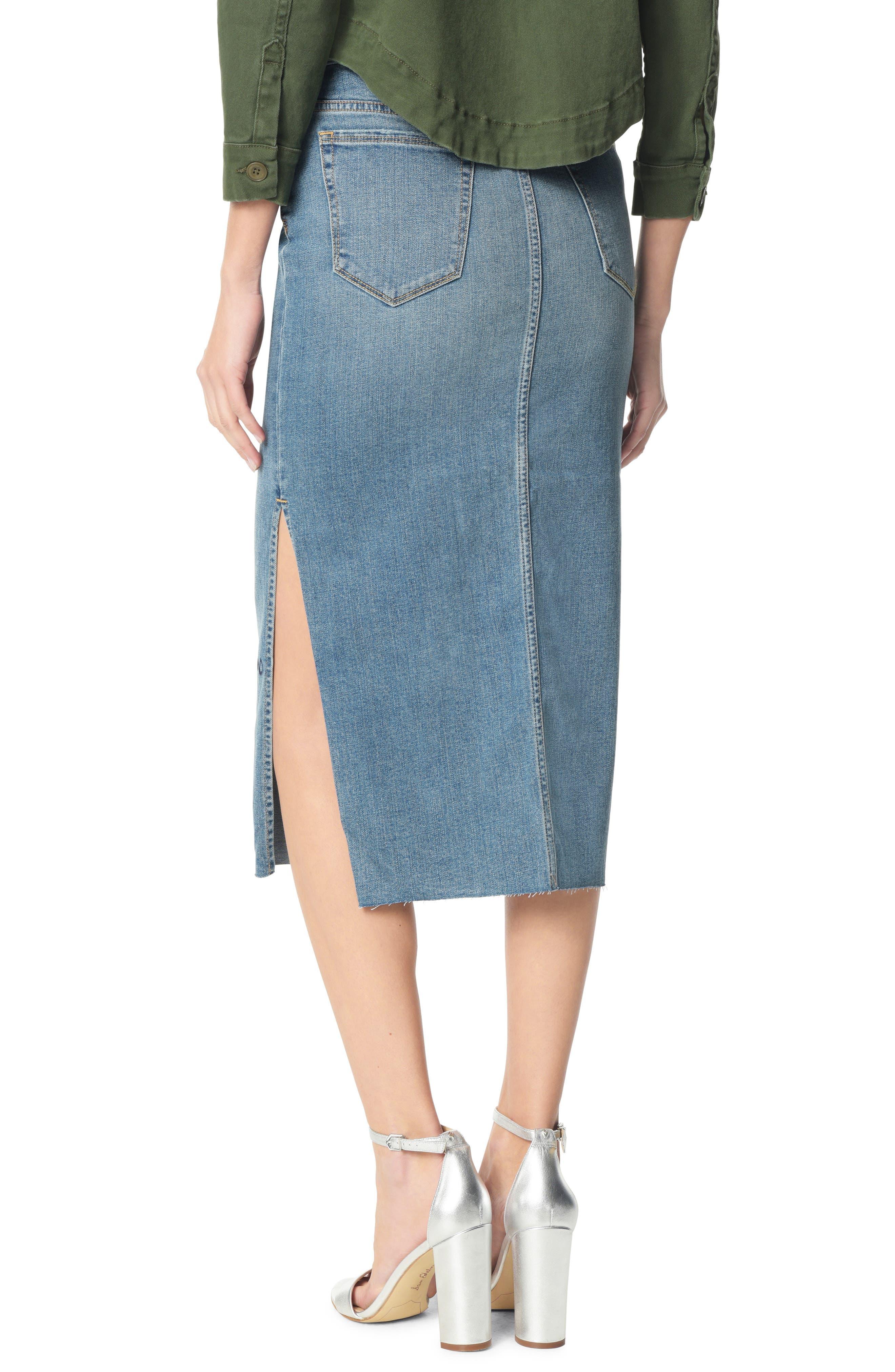 SAM EDELMAN, The Maribelle Mid Rise Denim Skirt, Alternate thumbnail 2, color, 421