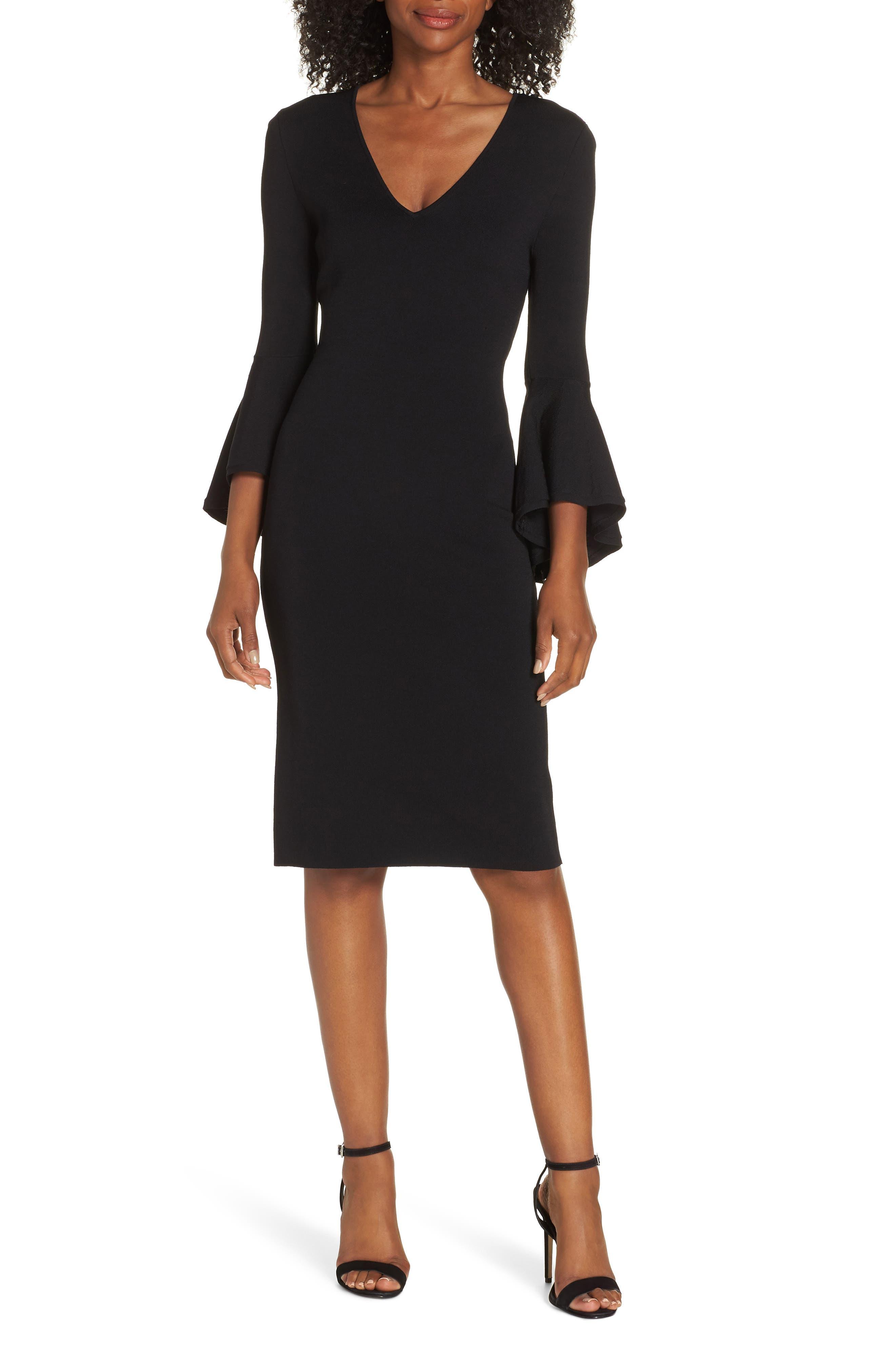 ELIZA J, Bell Sleeve Sheath Dress, Main thumbnail 1, color, BLACK