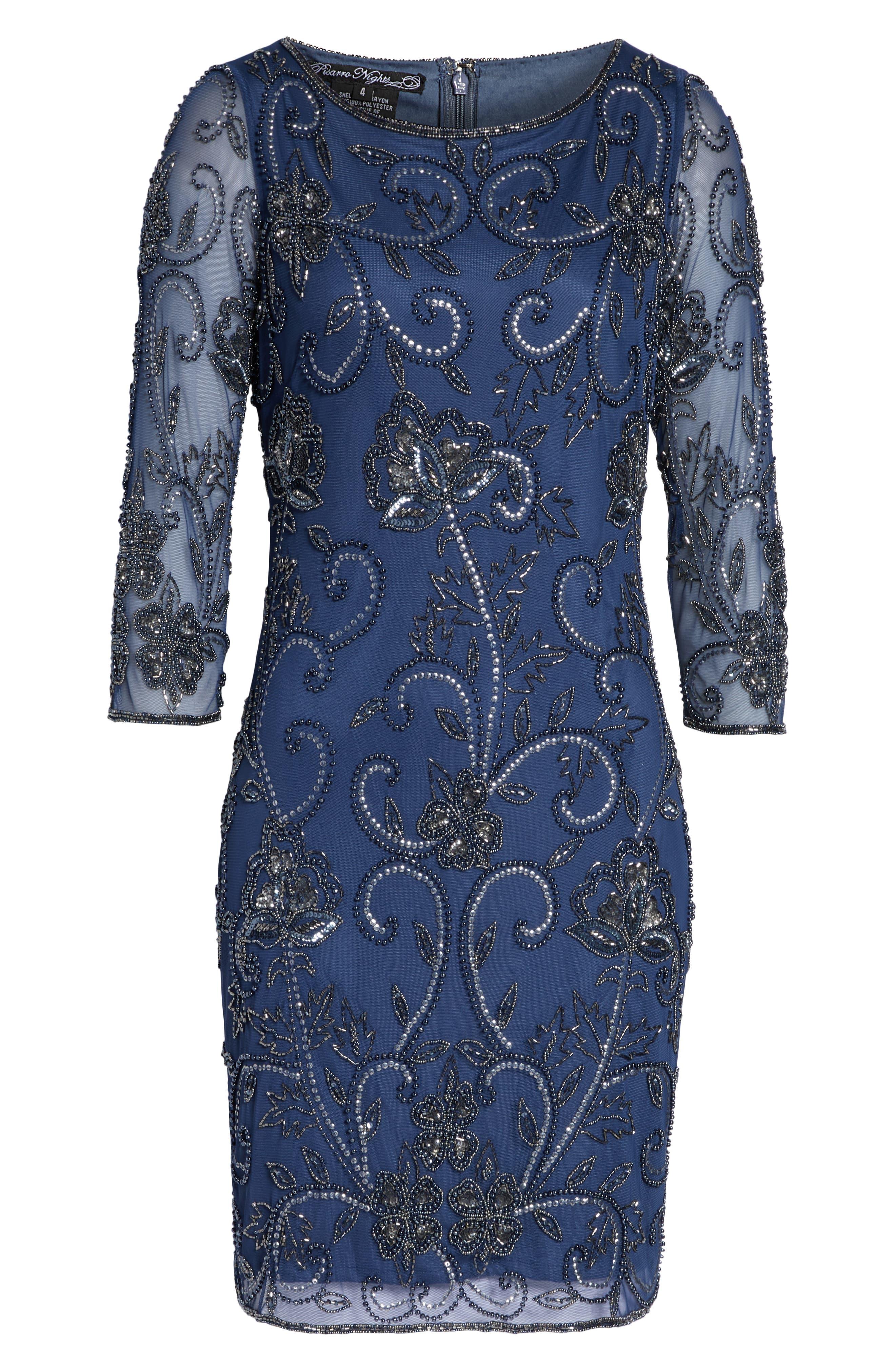PISARRO NIGHTS, Embellished Mesh Sheath Dress, Alternate thumbnail 7, color, BLUE