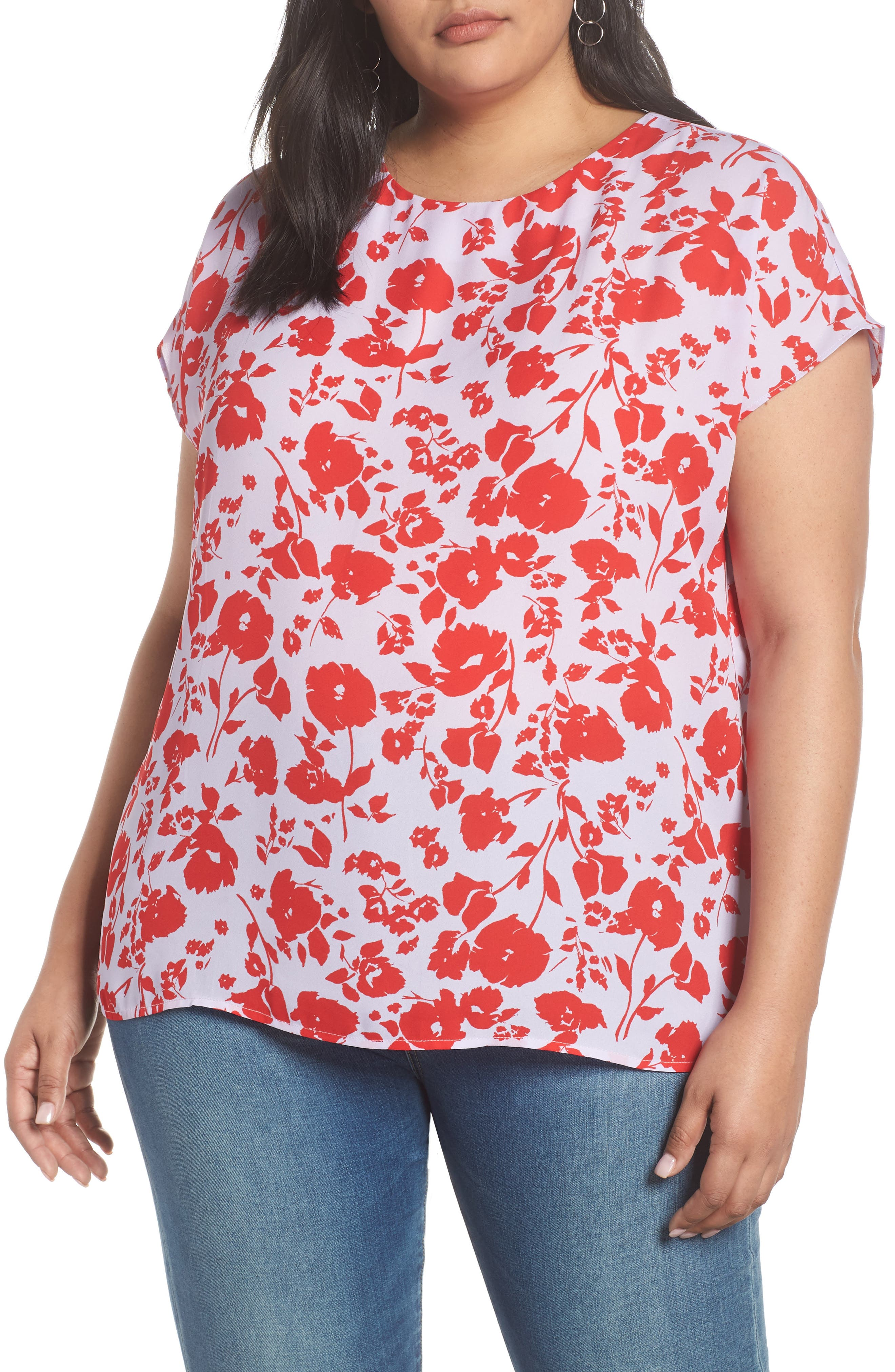 HALOGEN<SUP>®</SUP> Cap Sleeve Woven Blouse, Main, color, LAVENDAR- RED POPPY PRINT