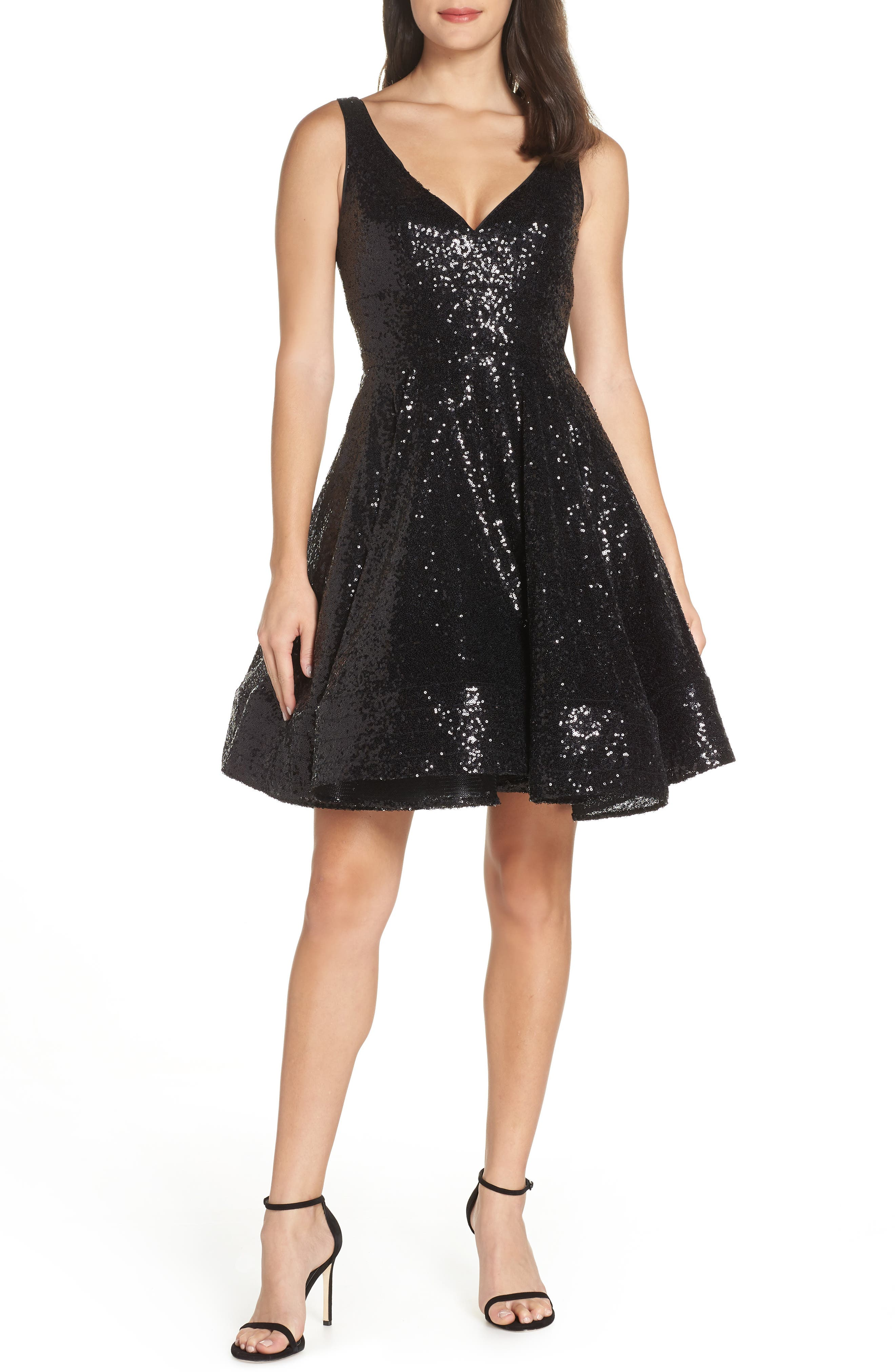 IEENA FOR MAC DUGGAL Double V-Neck Fit & Flare Party Dress, Main, color, NOIR