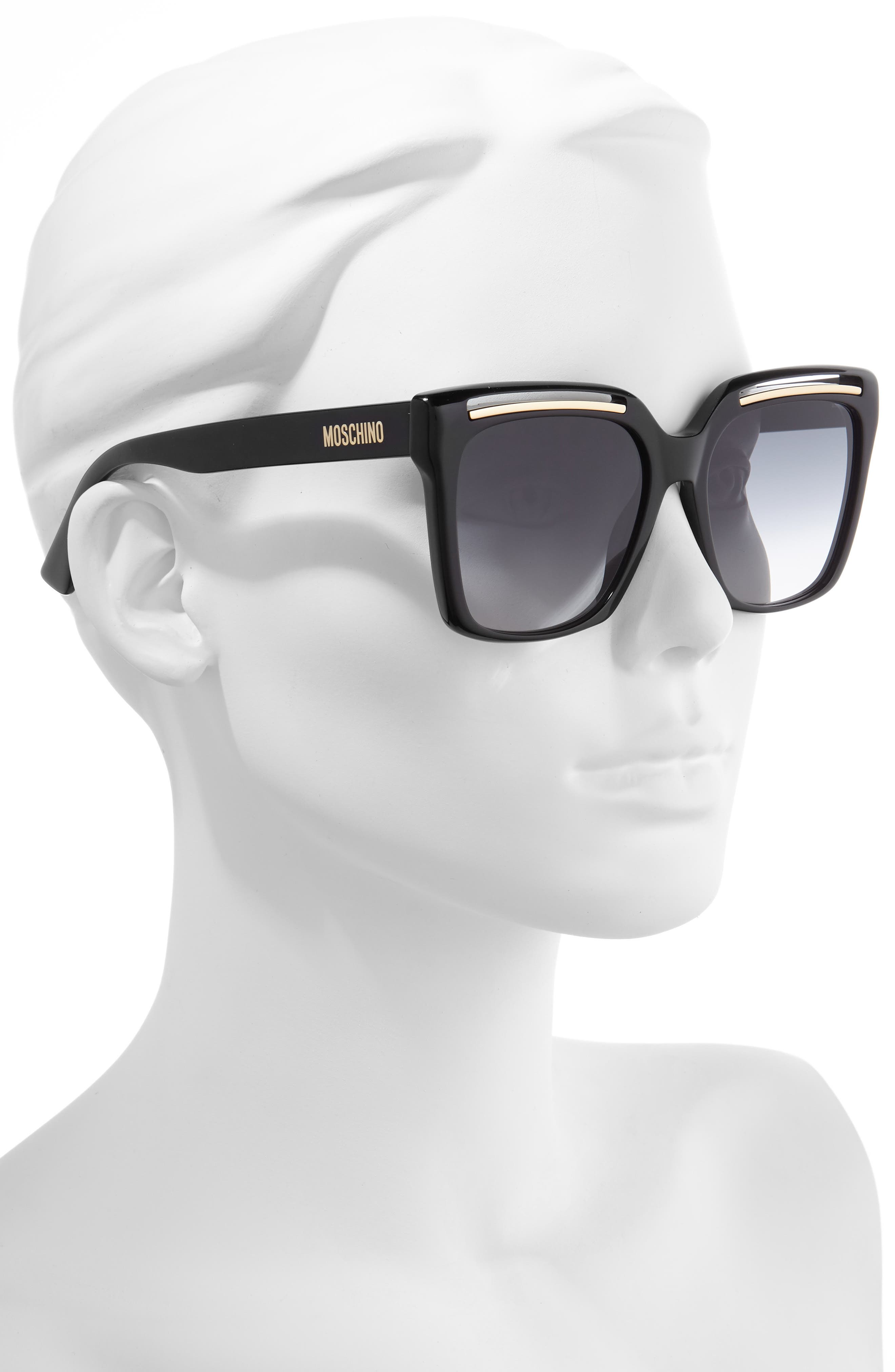MOSCHINO, 56mm Gradient Square Sunglasses, Alternate thumbnail 2, color, BLACK