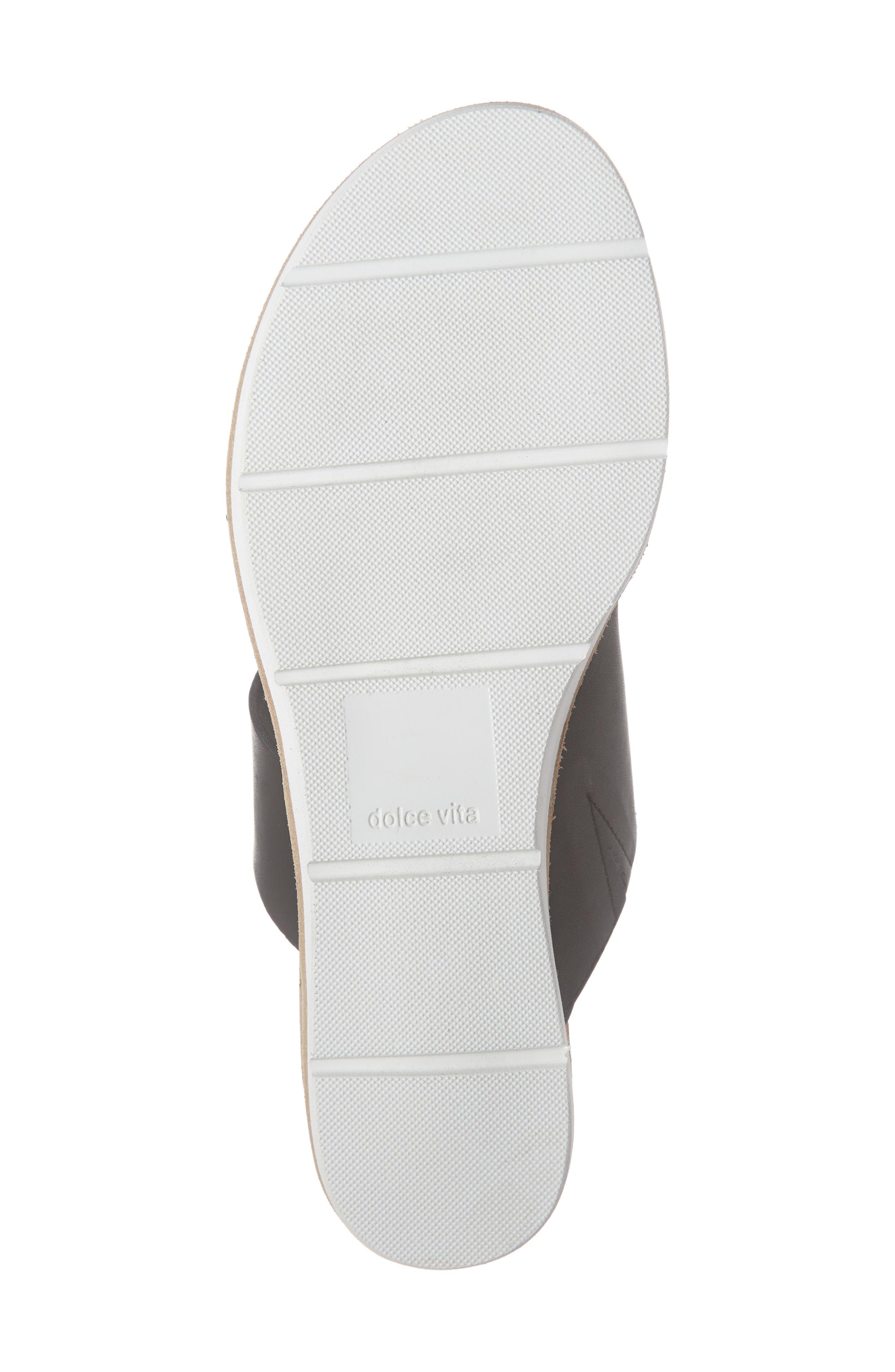 DOLCE VITA, Vala Wedge Slide Sandal, Alternate thumbnail 6, color, BLACK LEATHER