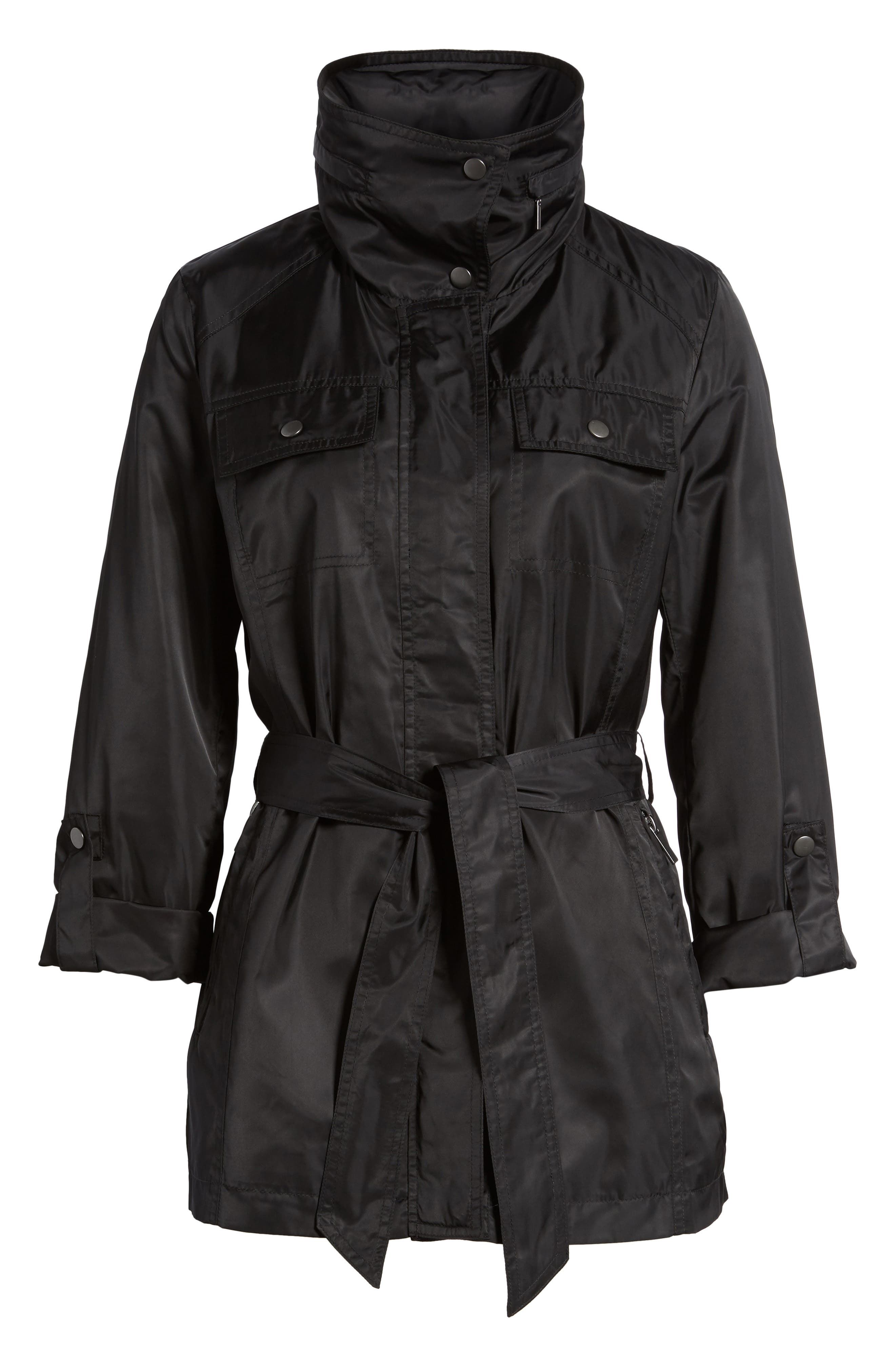 HALOGEN<SUP>®</SUP>, Belted Lightweight Jacket, Alternate thumbnail 6, color, BLACK