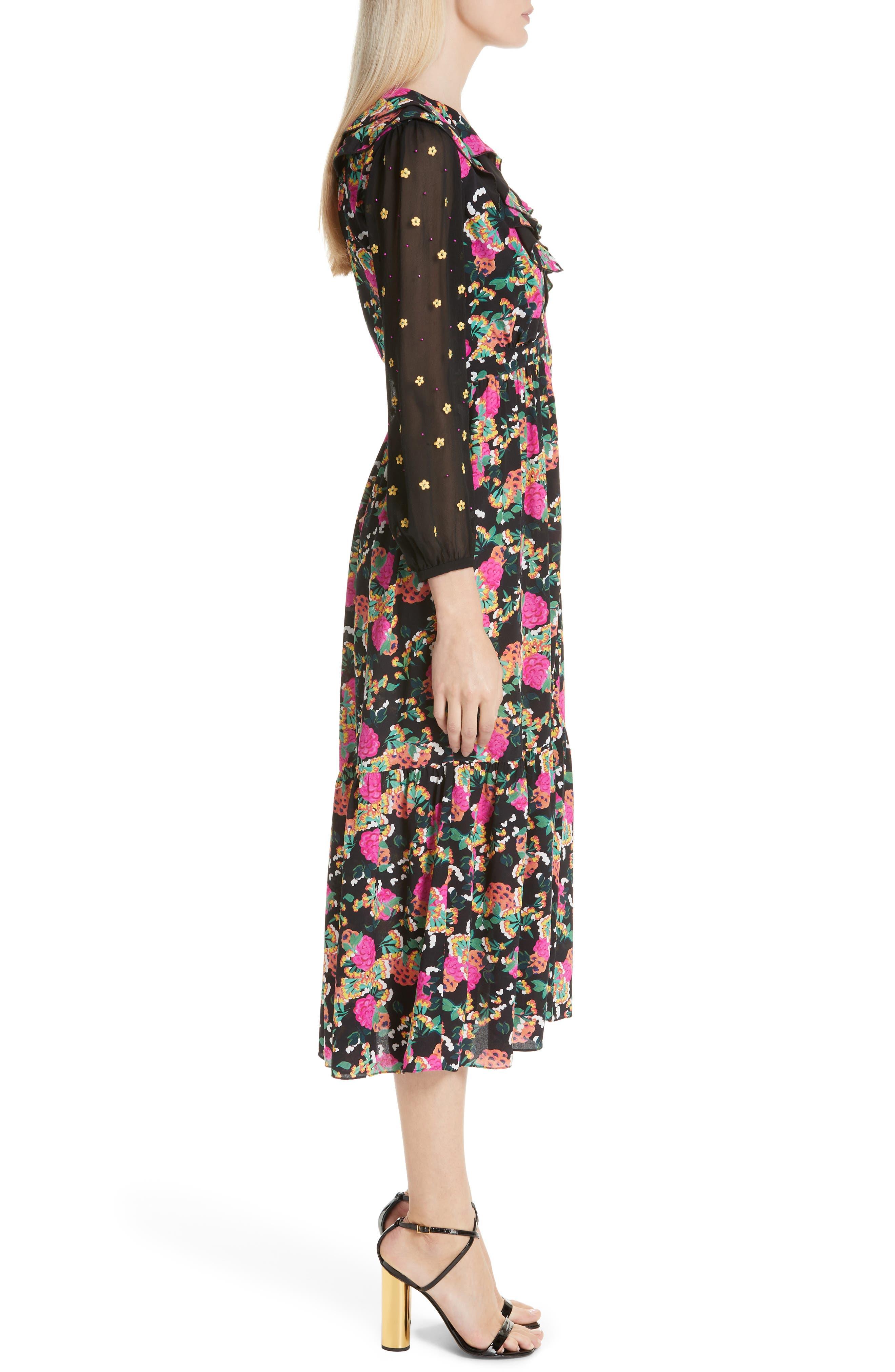 SALONI, Ginny Silk Midi Dress, Alternate thumbnail 3, color, HYDRANGEA/ EMBELLISHMENT
