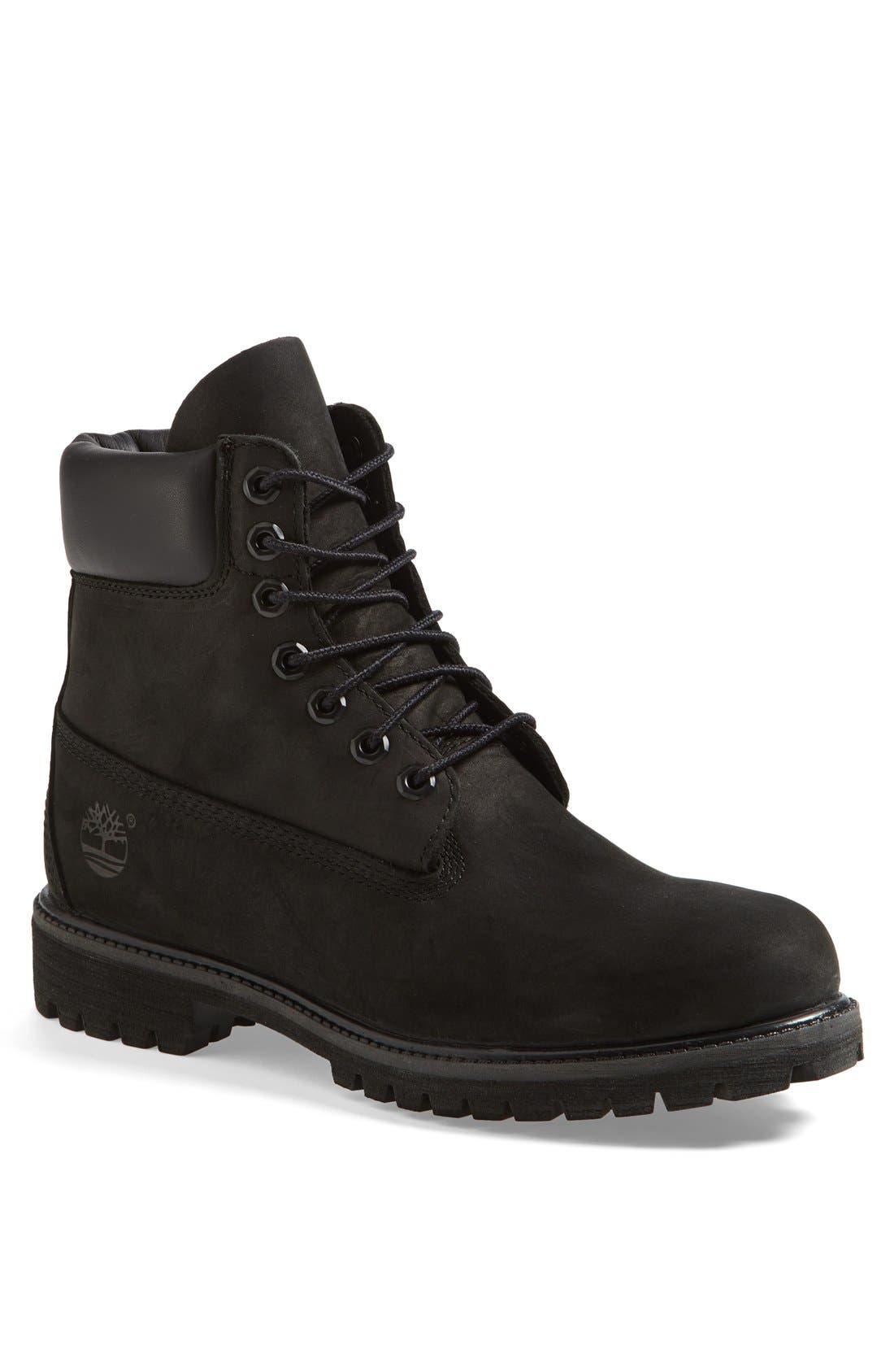 TIMBERLAND Six Inch Classic Waterproof Boots - Premium Waterproof Boot, Main, color, BLACK
