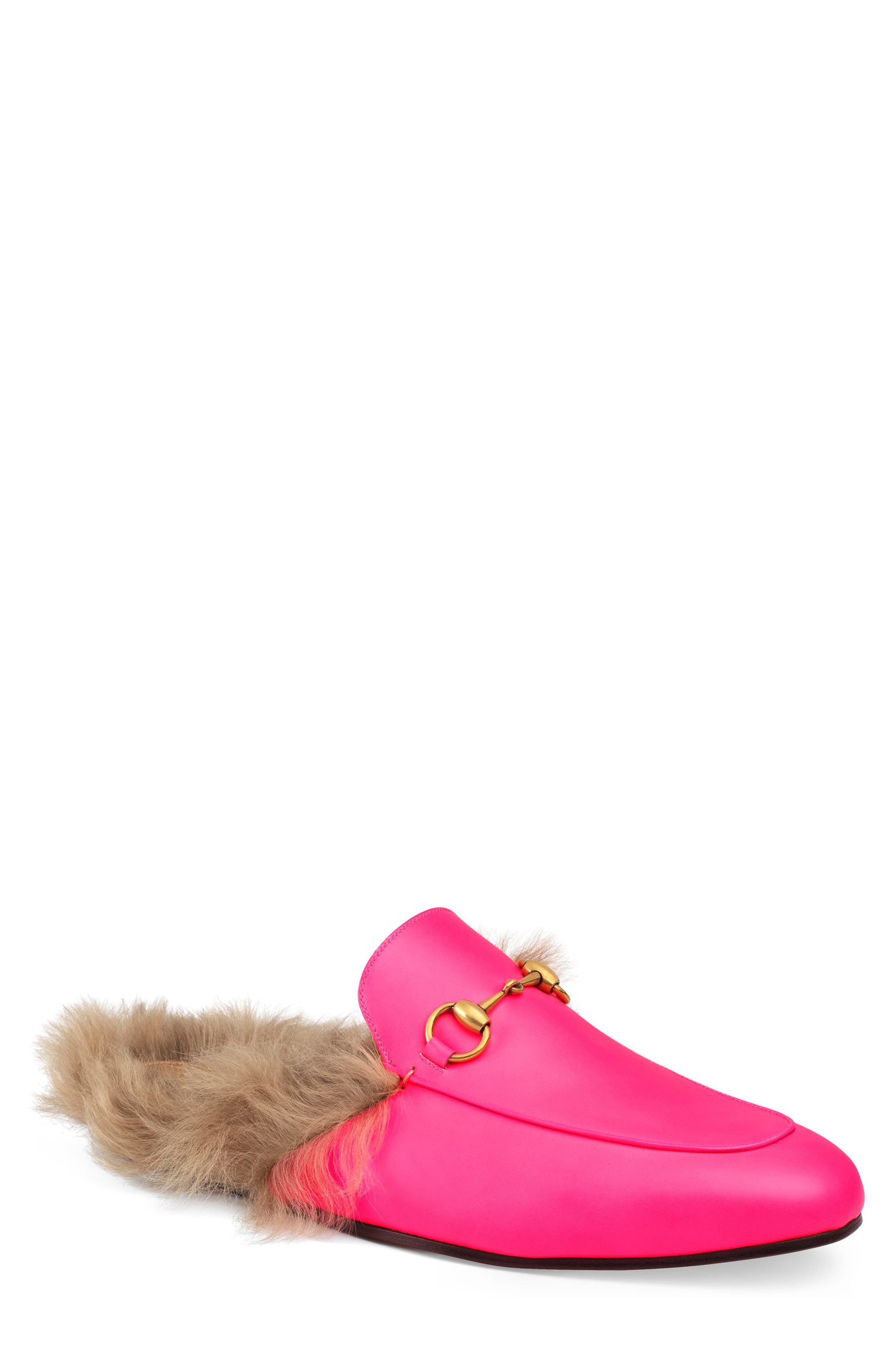 GUCCI, Princetown Genuine Shearling Lined Mule Loafer, Main thumbnail 1, color, PINK/ PINK