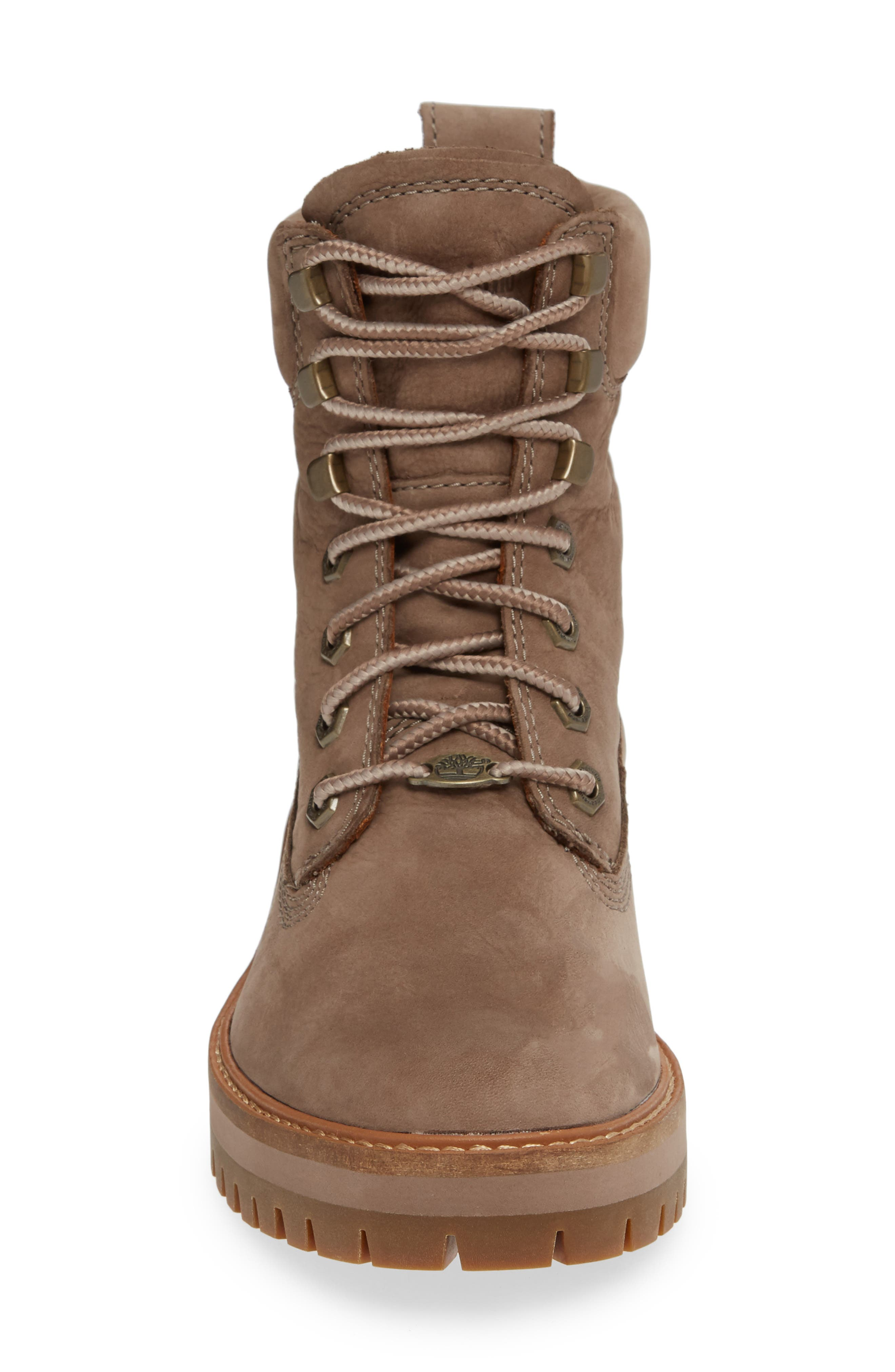 TIMBERLAND, Courmayeur Valley Water Resistant Hiking Boot, Alternate thumbnail 4, color, TAUPE GREY NUBUCK