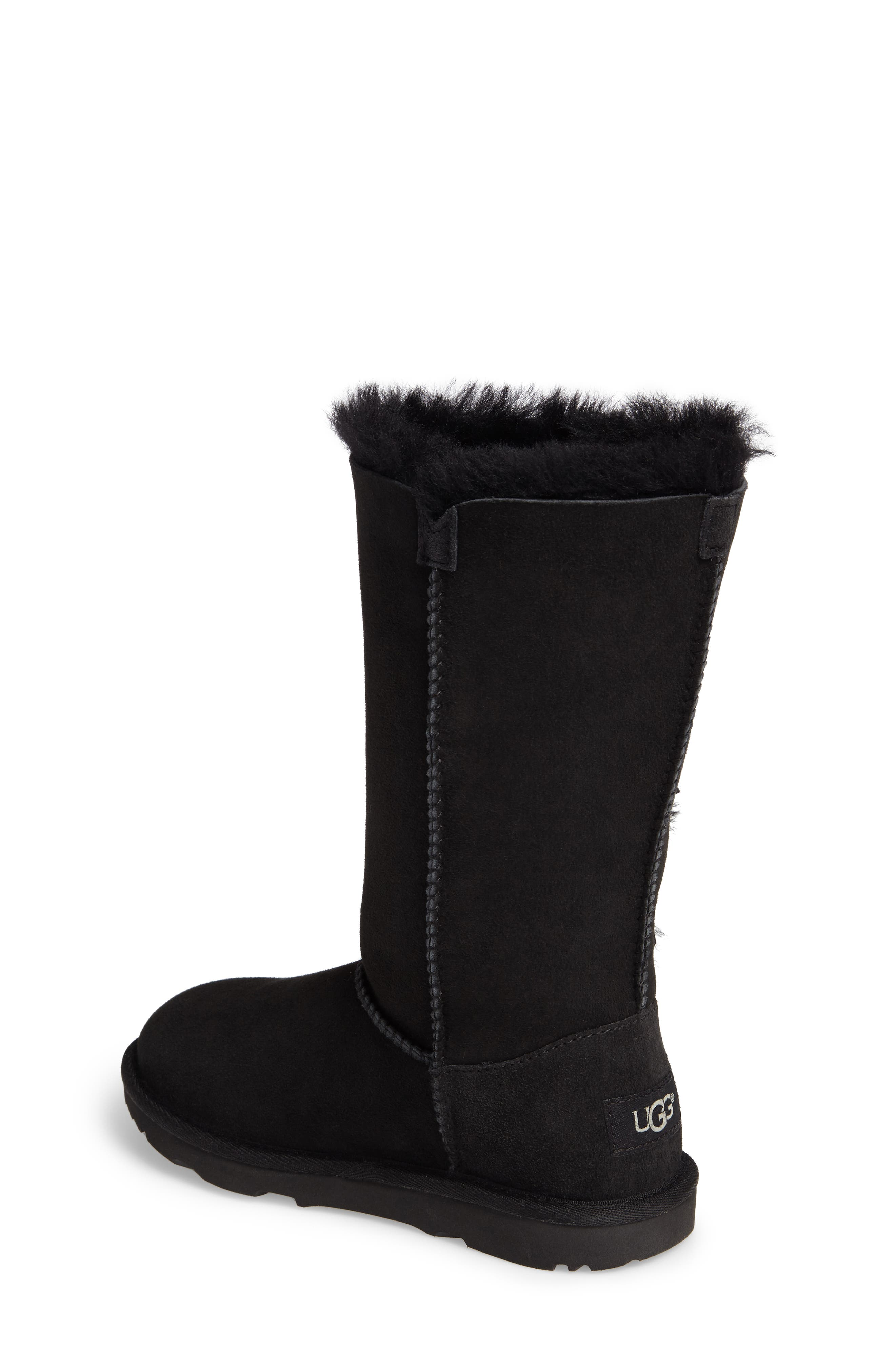 UGG<SUP>®</SUP>, Bailey Button Triplet II Genuine Shearling Boot, Alternate thumbnail 2, color, BLACK SUEDE