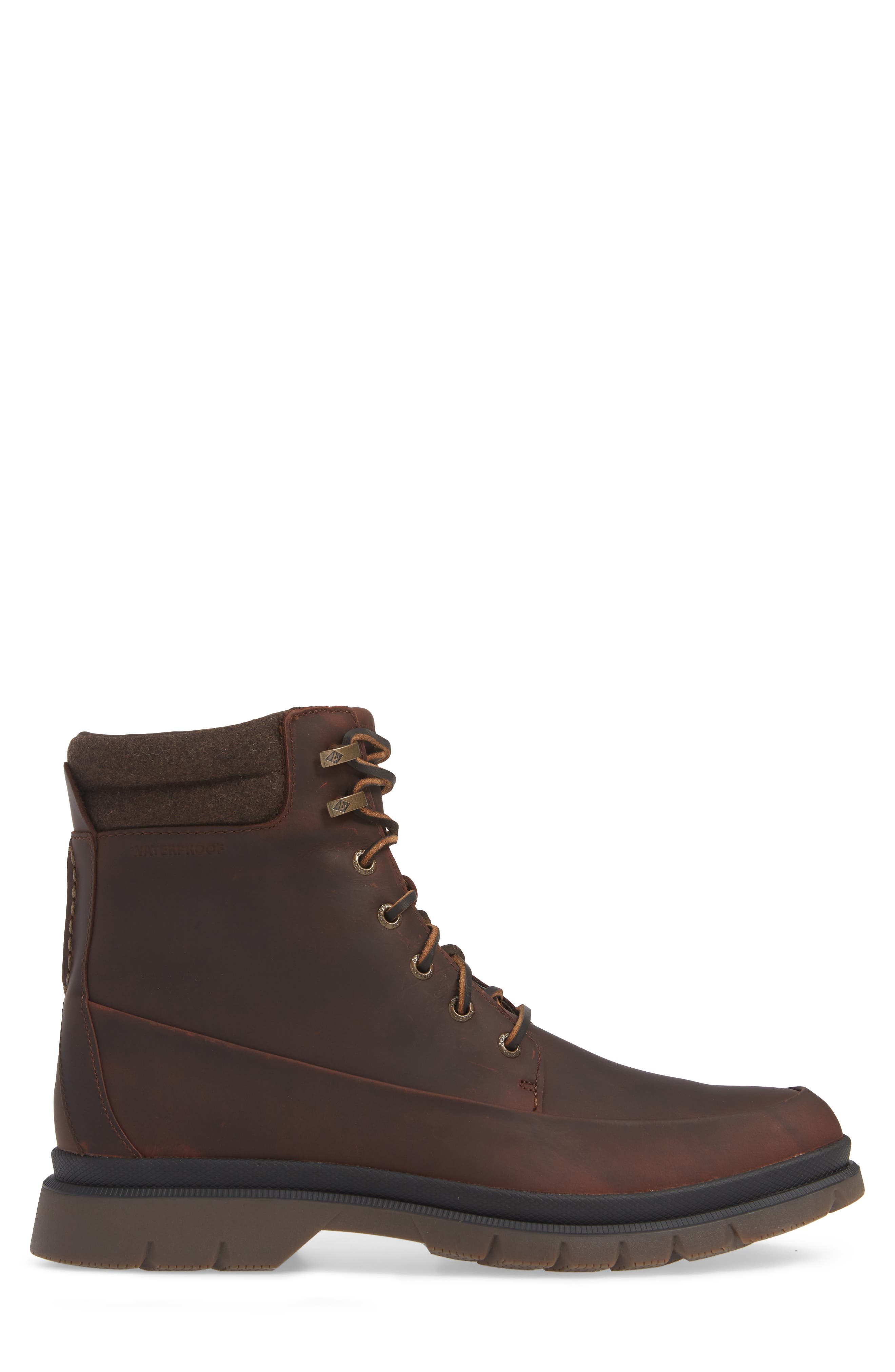 SPERRY, Watertown Waterproof Moc Toe Boot, Alternate thumbnail 3, color, BROWN
