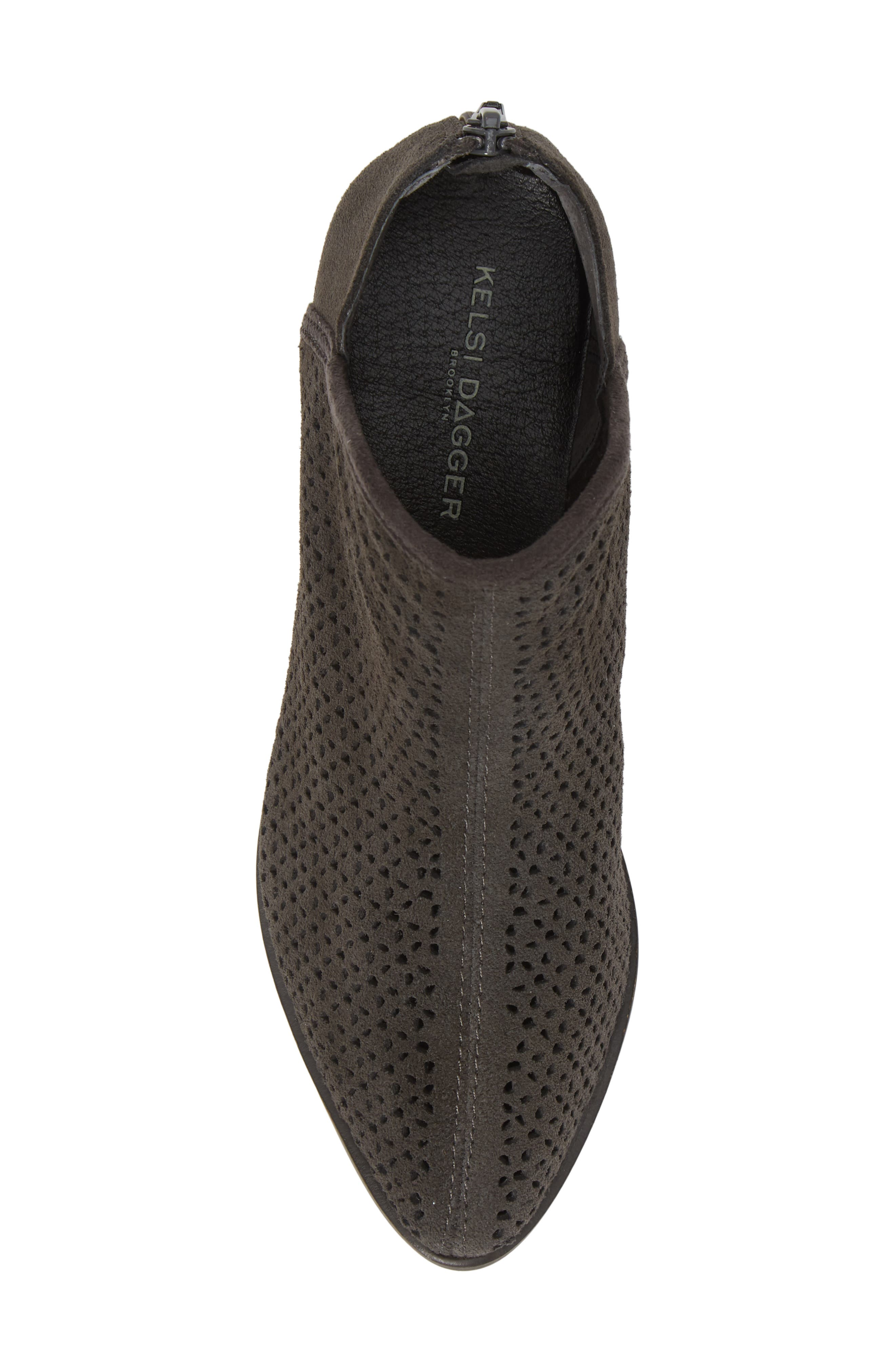 KELSI DAGGER BROOKLYN, Alley Perforated Bootie, Alternate thumbnail 5, color, CHARCOAL