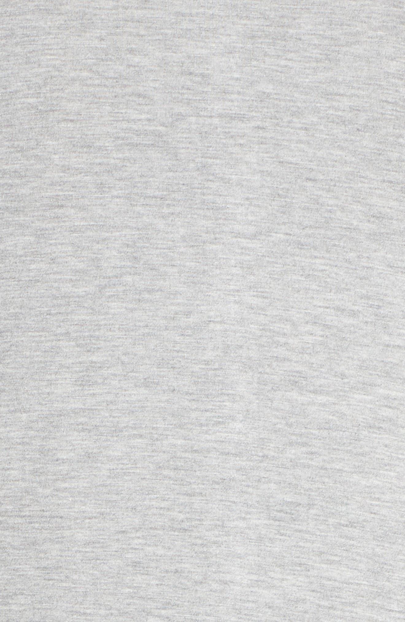 LAUREN RALPH LAUREN, Long Night Shirt, Alternate thumbnail 5, color, HEATHER GREY FEEDER STRIPE