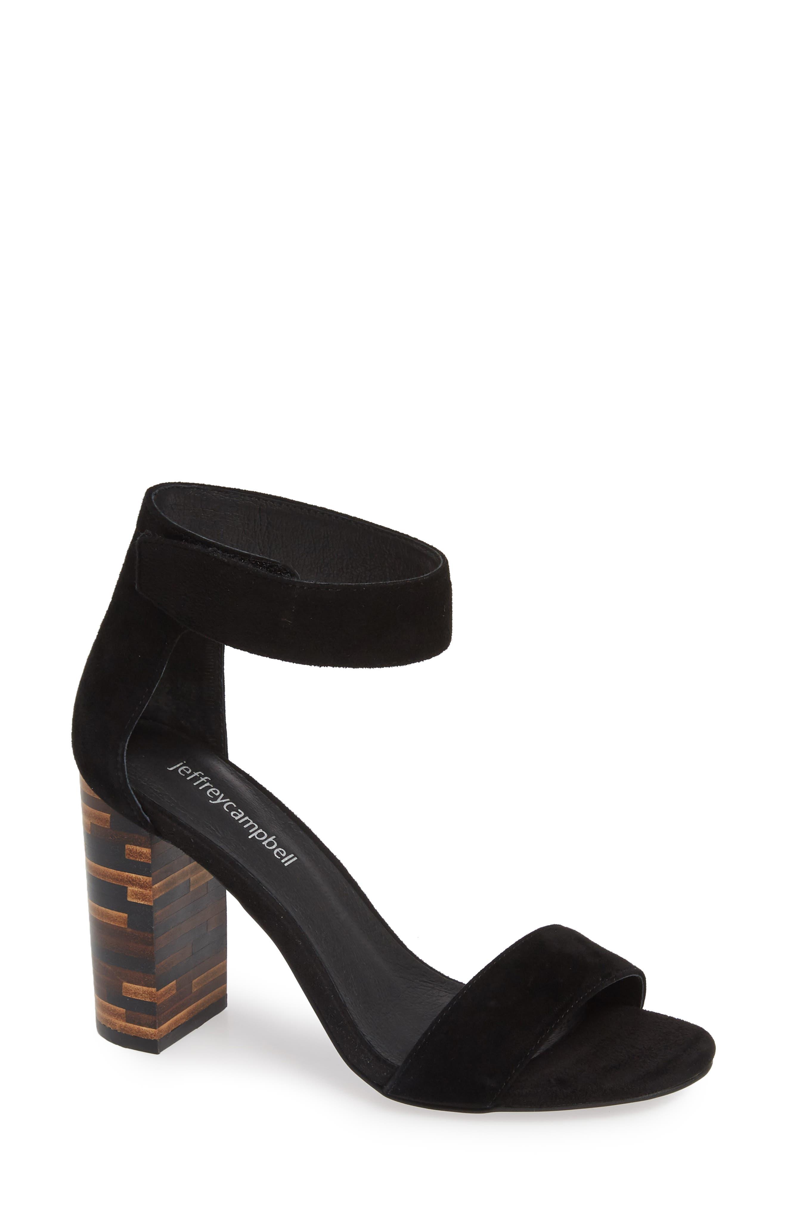 JEFFREY CAMPBELL Lindsay Statement Heel Sandal, Main, color, BLACK SUEDE