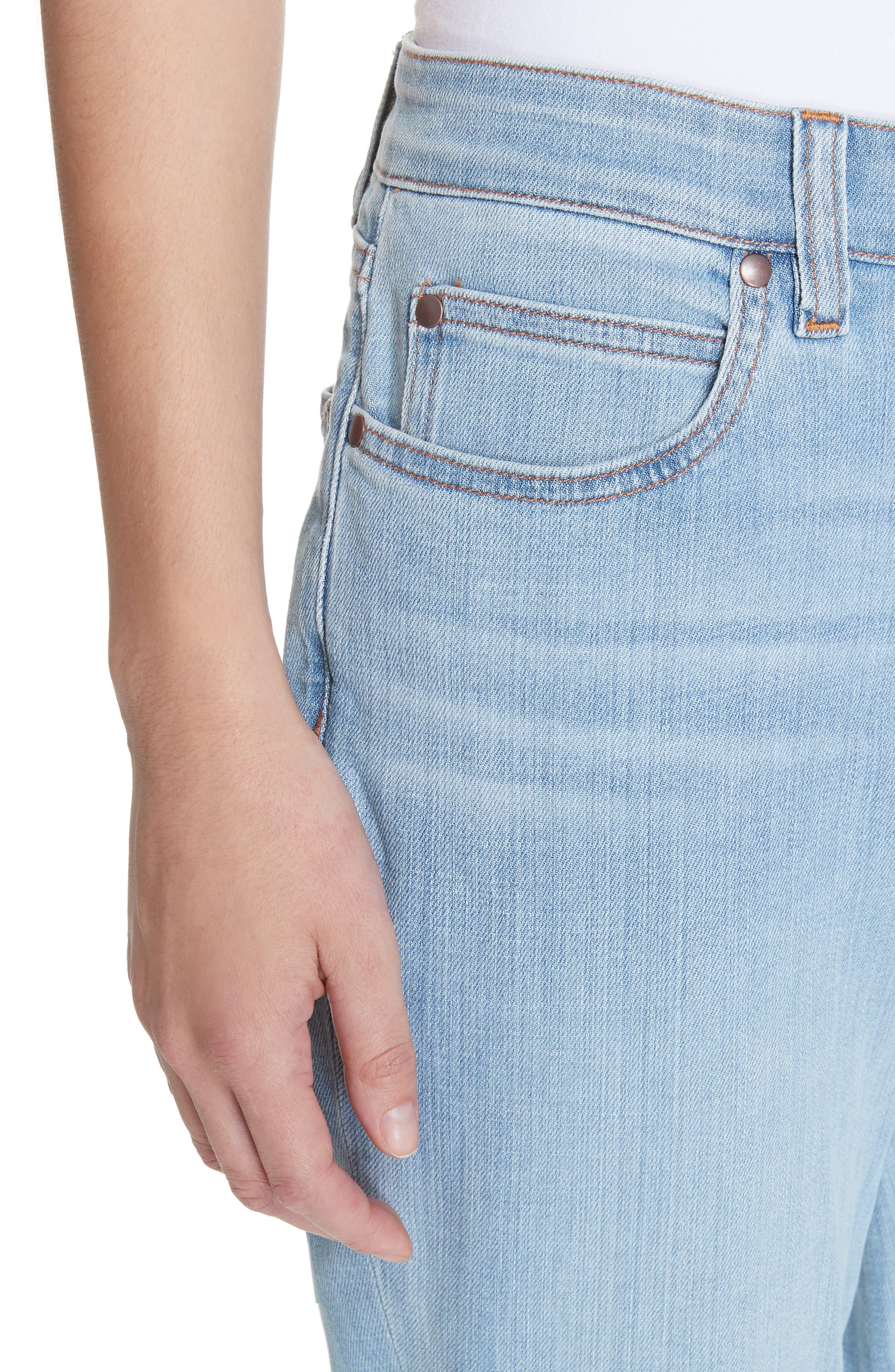EILEEN FISHER, Organic Cotton Boyfriend Jeans, Alternate thumbnail 5, color, ICE BLUE