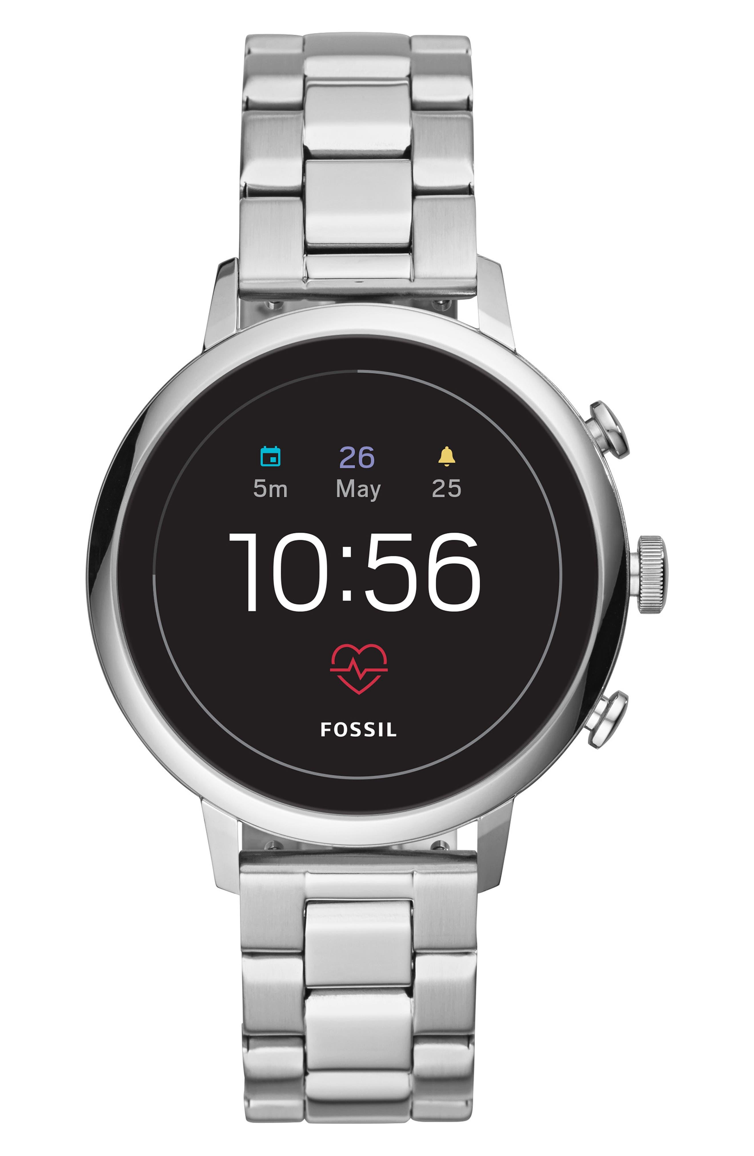 FOSSIL, Q Venture HR Bracelet Watch, 40mm, Main thumbnail 1, color, SILVER