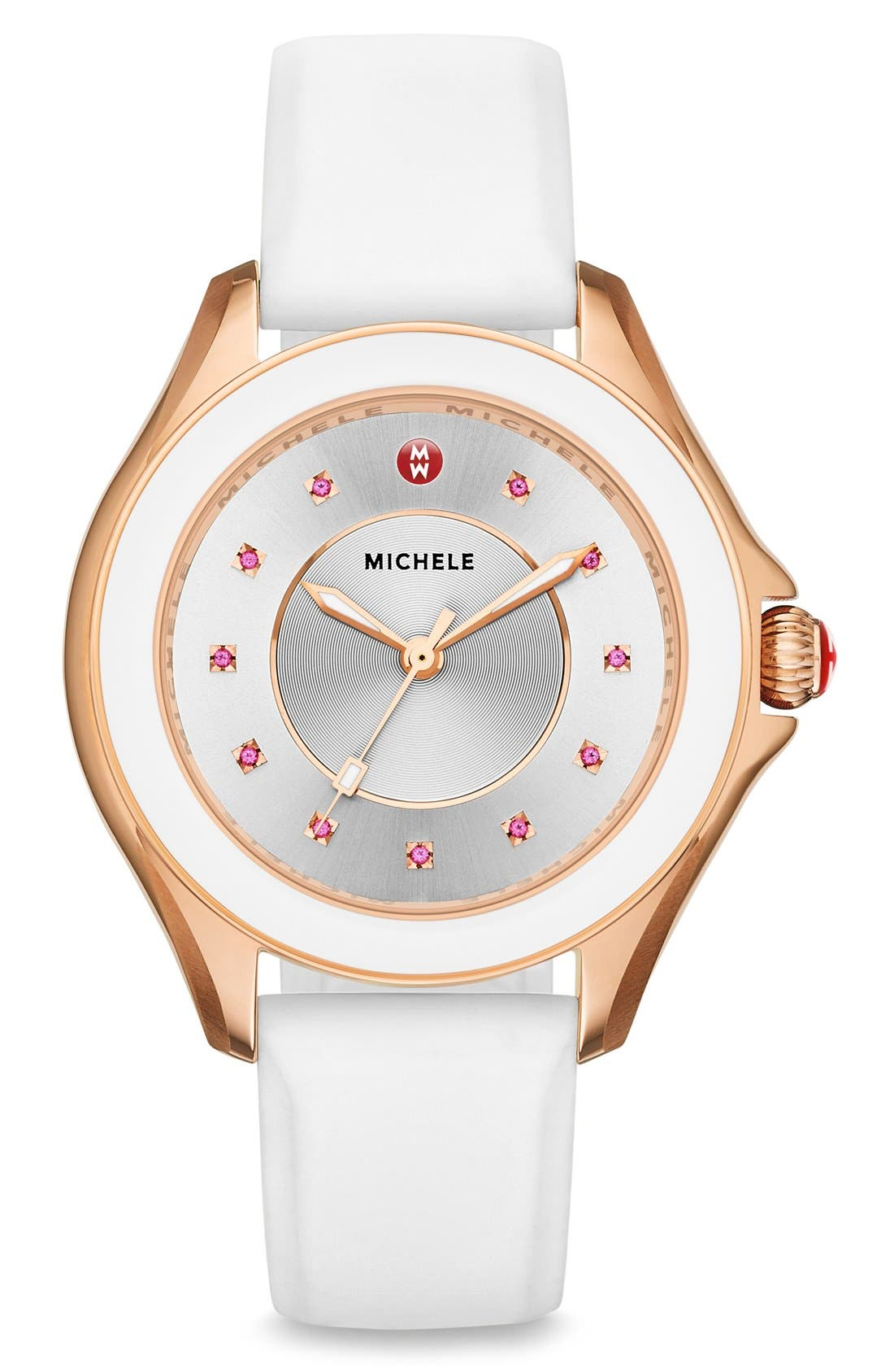 MICHELE, Cape Topaz Dial Silicone Strap Watch, 40mm, Alternate thumbnail 3, color, 100