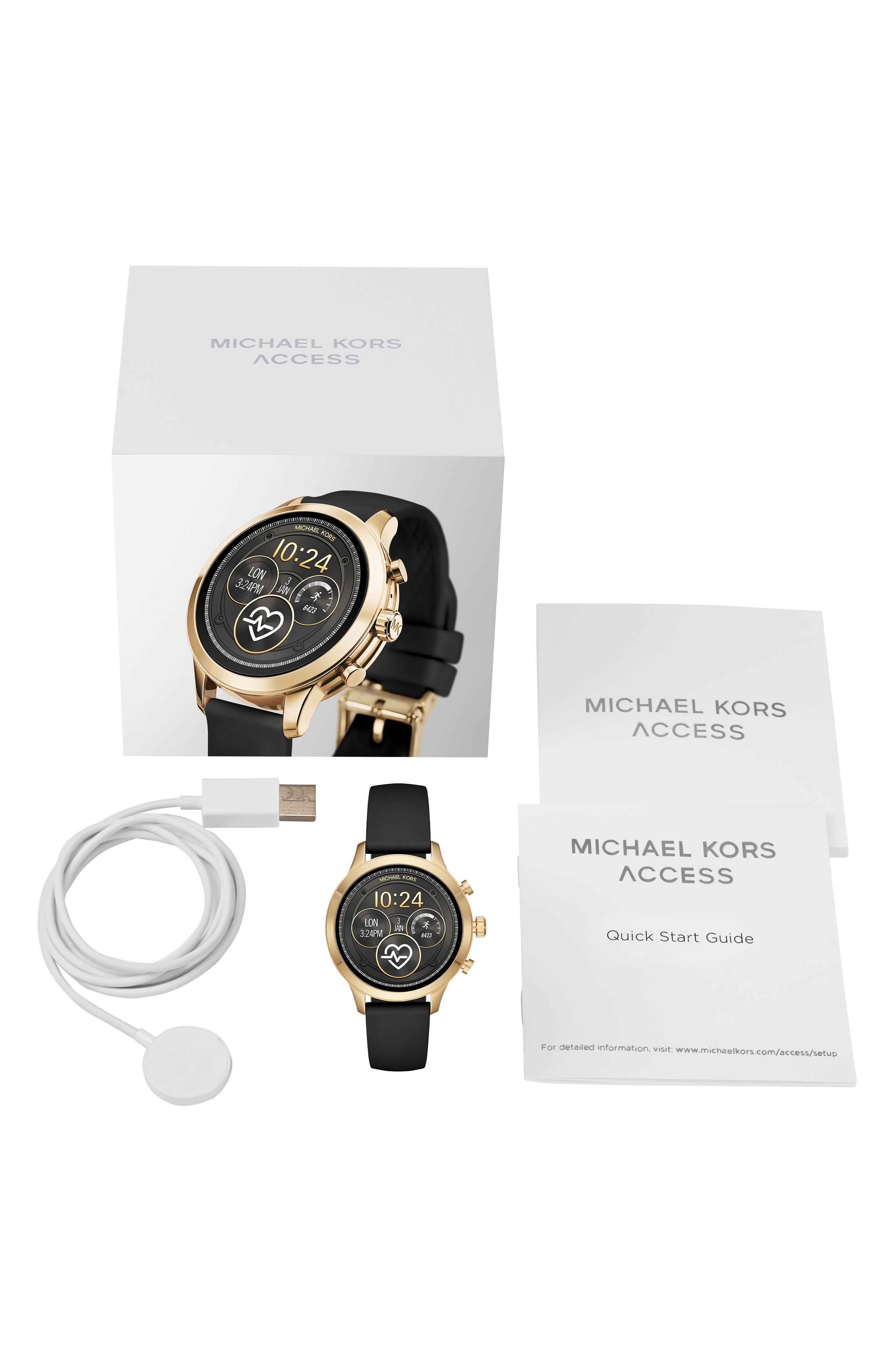 MICHAEL KORS, MICHAEL Michael Kors Access Runway Smart Watch, 41mm, Alternate thumbnail 4, color, BLACK/ GOLD