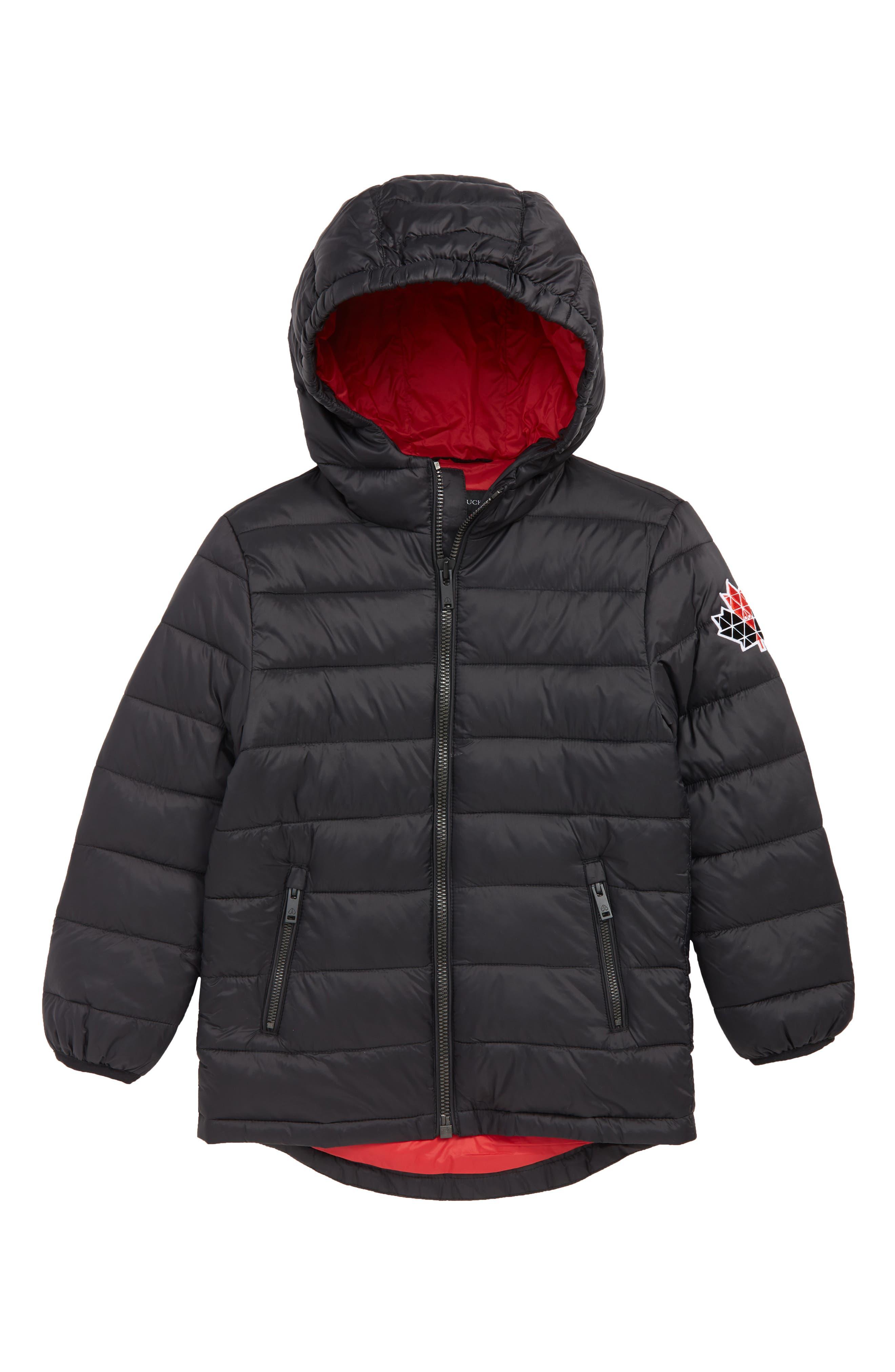 MOOSE KNUCKLES, Acadie Hooded Jacket, Main thumbnail 1, color, BLACK