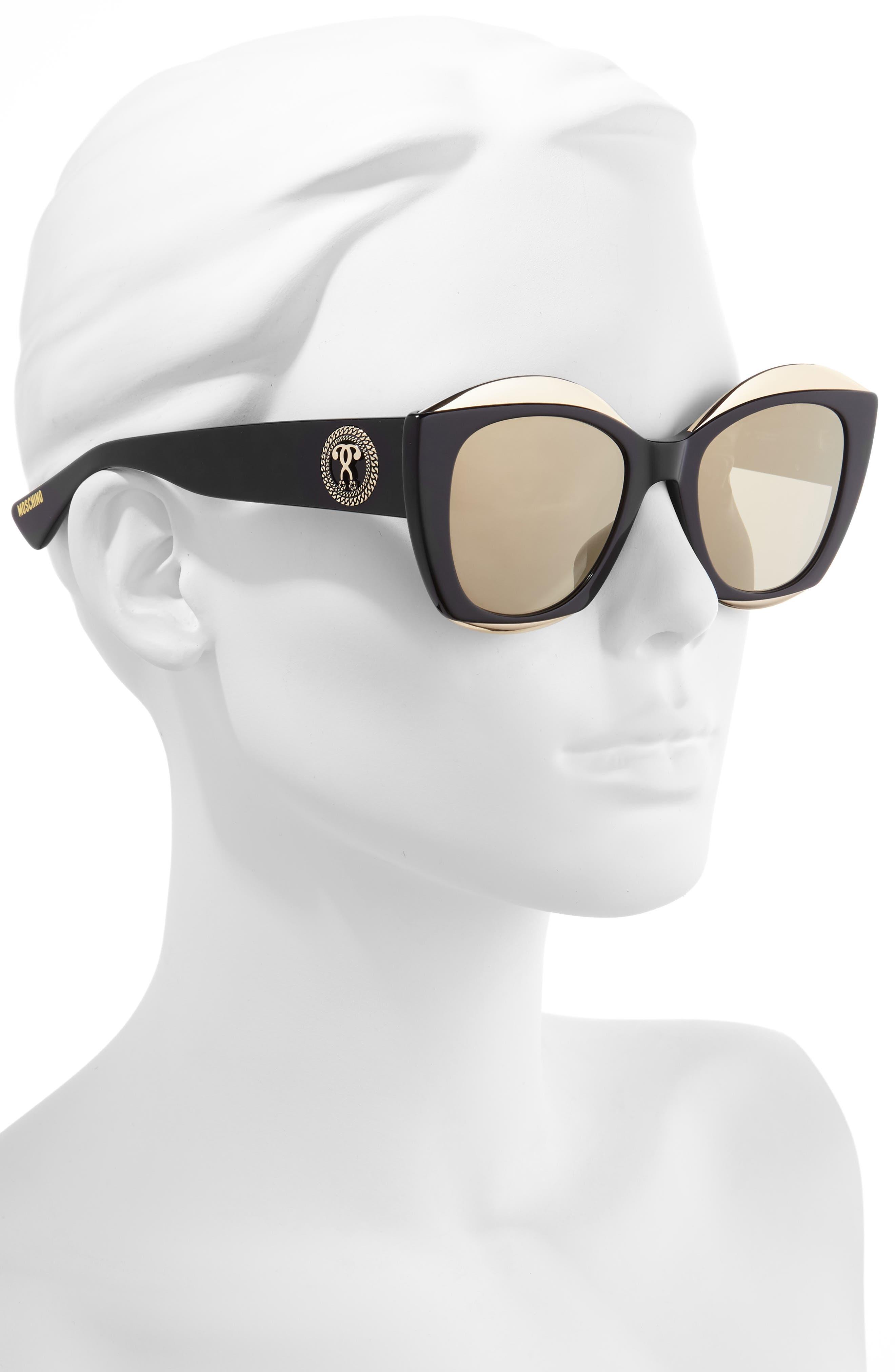 MOSCHINO, 52mm Cat Eye Sunglasses, Alternate thumbnail 2, color, BLACK