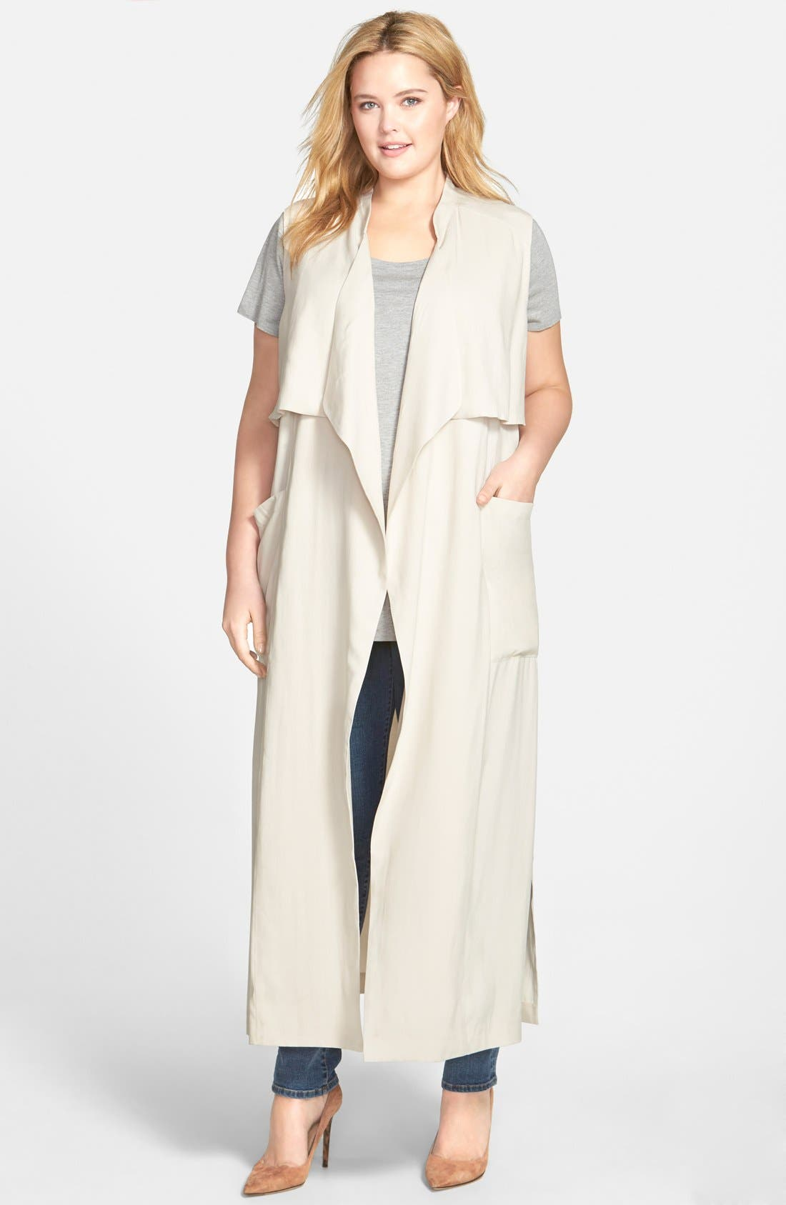 SEJOUR, Open Front Sleeveless Trench Coat, Main thumbnail 1, color, 250
