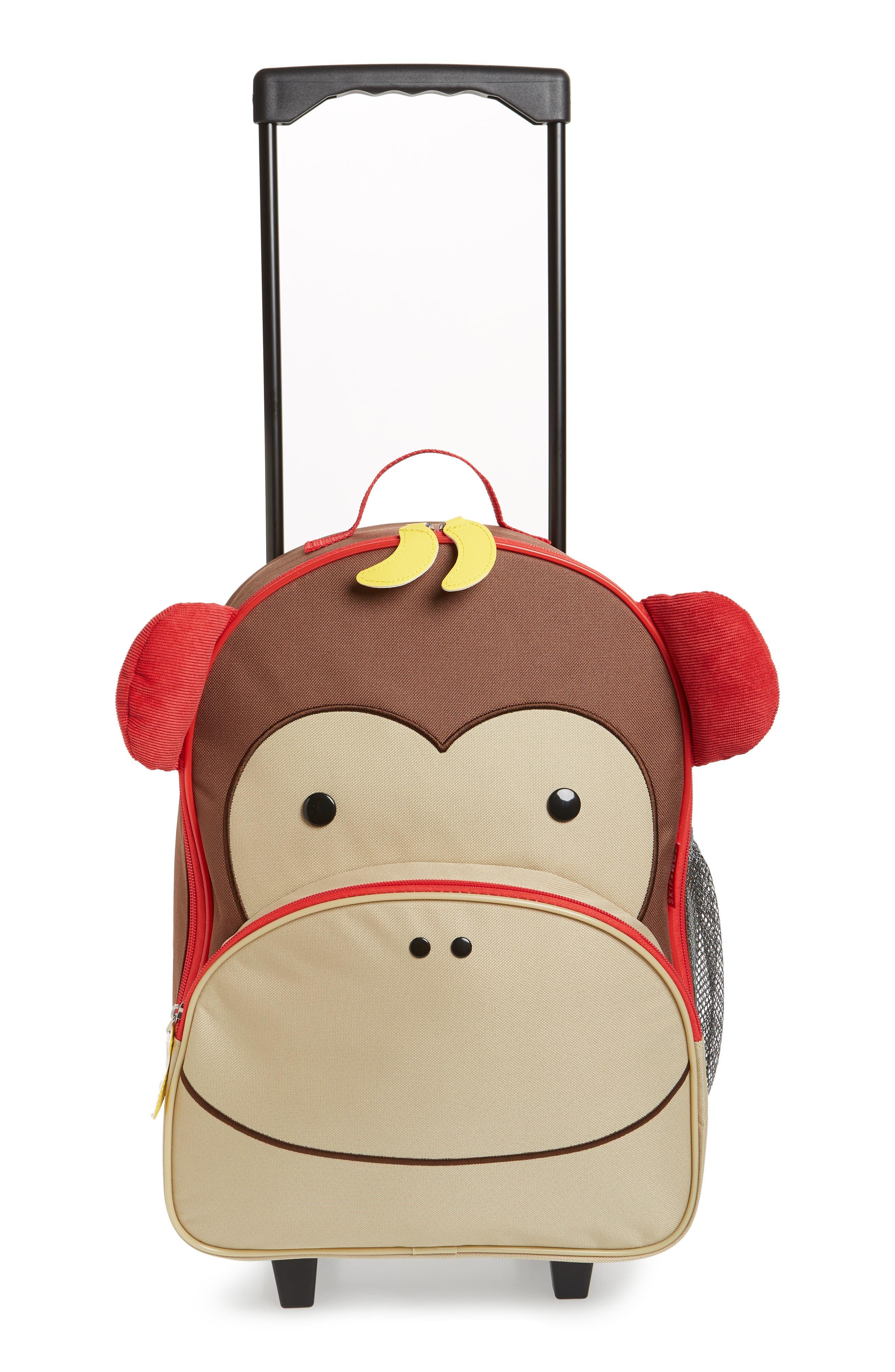 SKIP HOP, Monkey Rolling Luggage, Alternate thumbnail 2, color, BROWN