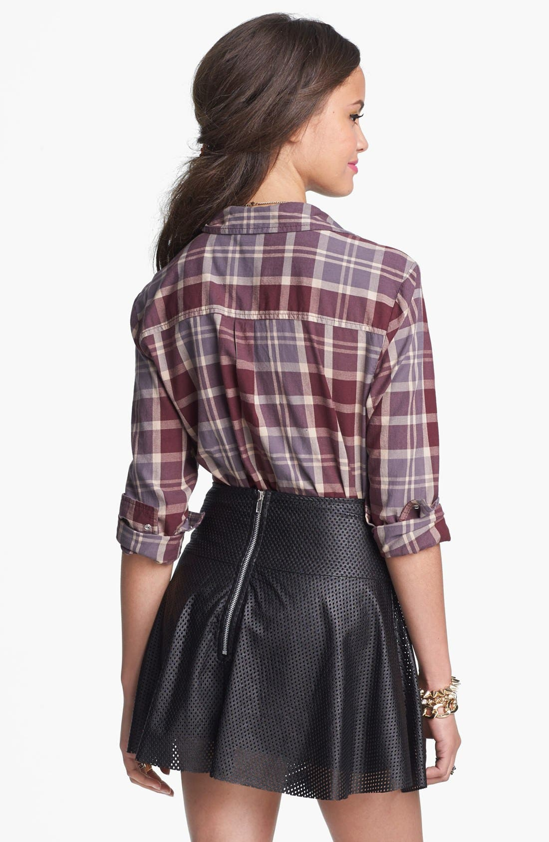 LILY WHITE, Perforated Faux Leather Skater Skirt, Alternate thumbnail 2, color, 001