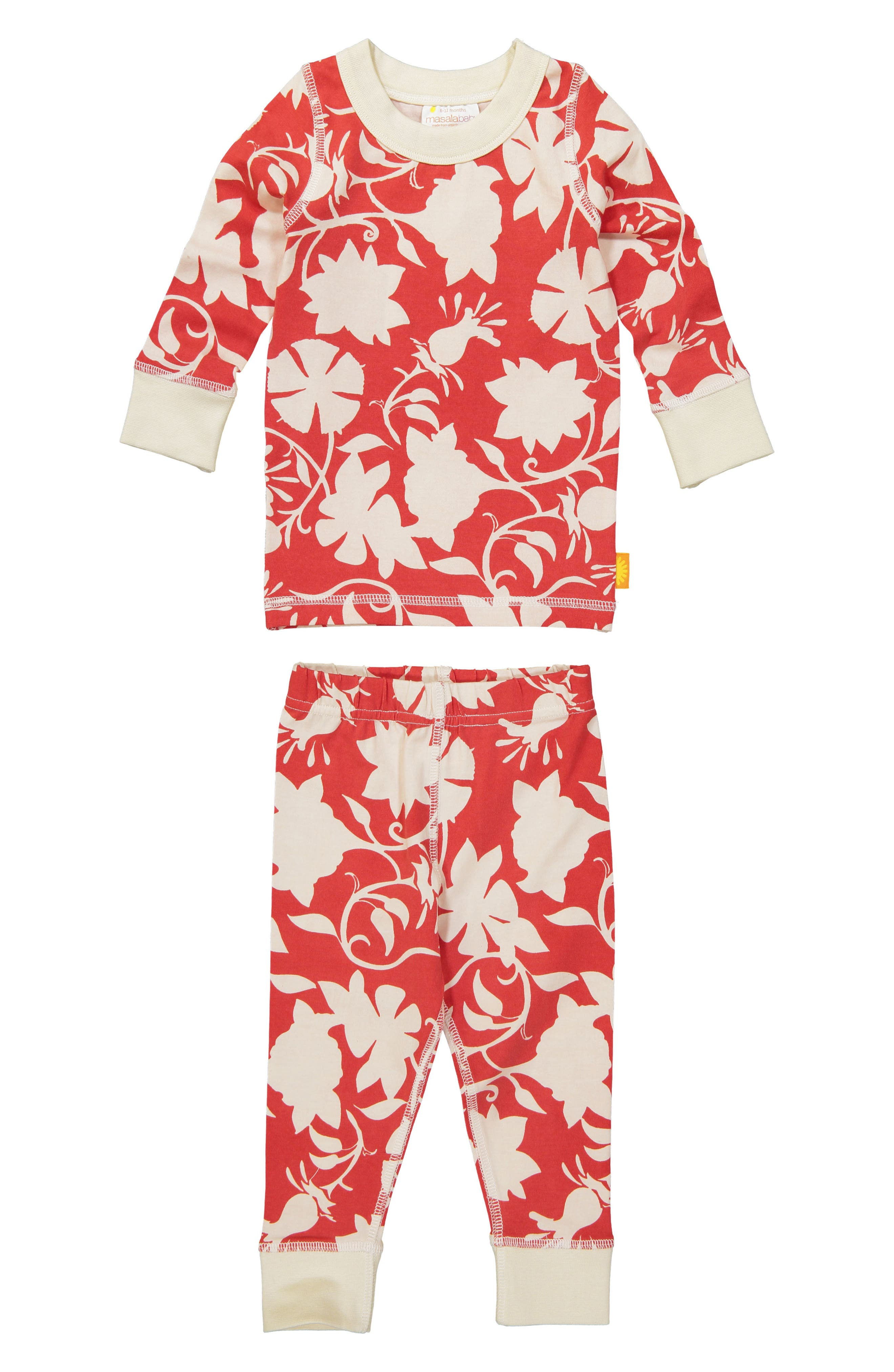 Girls Masala Baby Jolie Organic Cotton Fitted TwoPiece Pajamas Size 8Y  Red