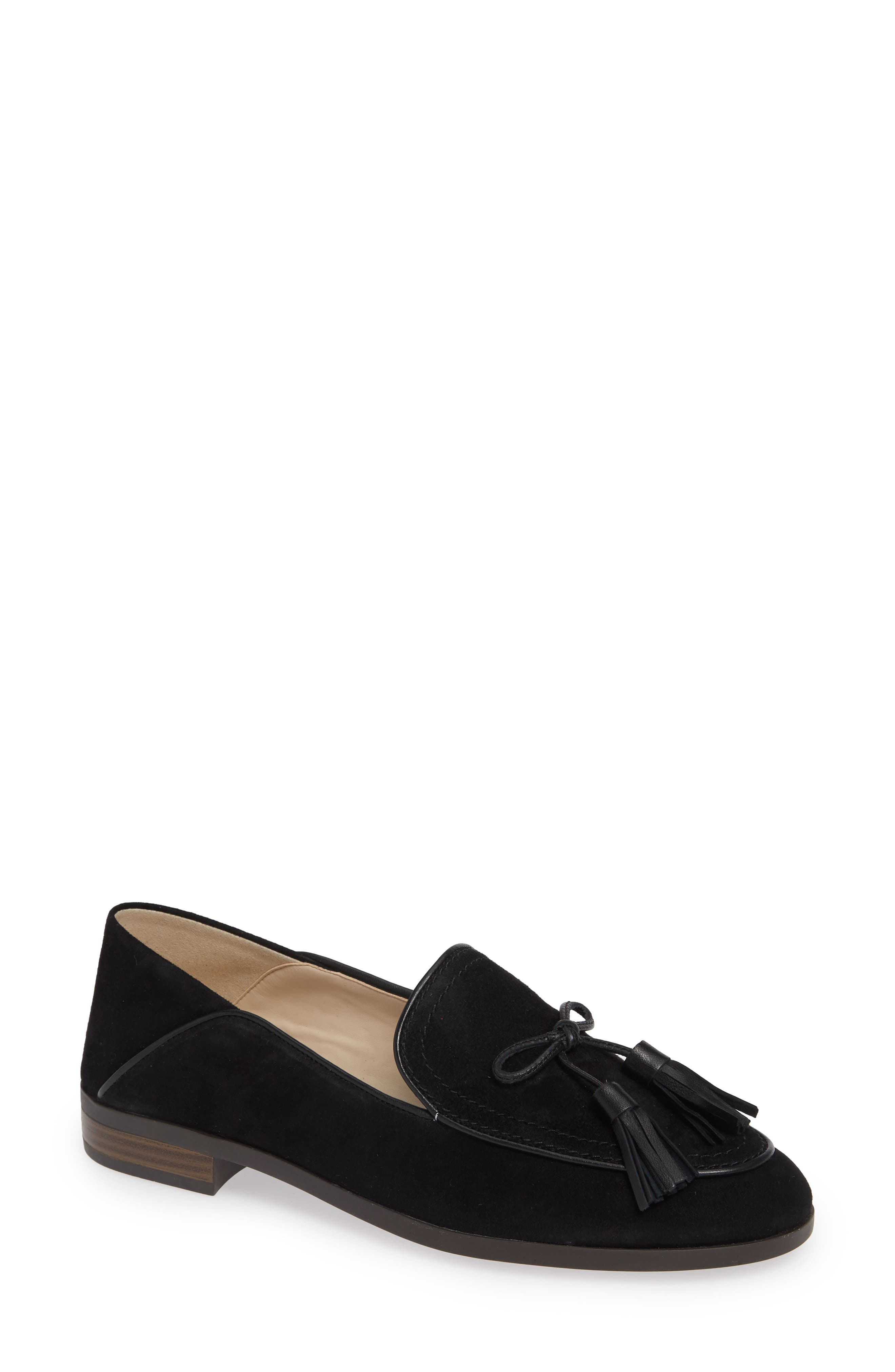 COLE HAAN, Gabrielle Loafer, Main thumbnail 1, color, BLACK SUEDE