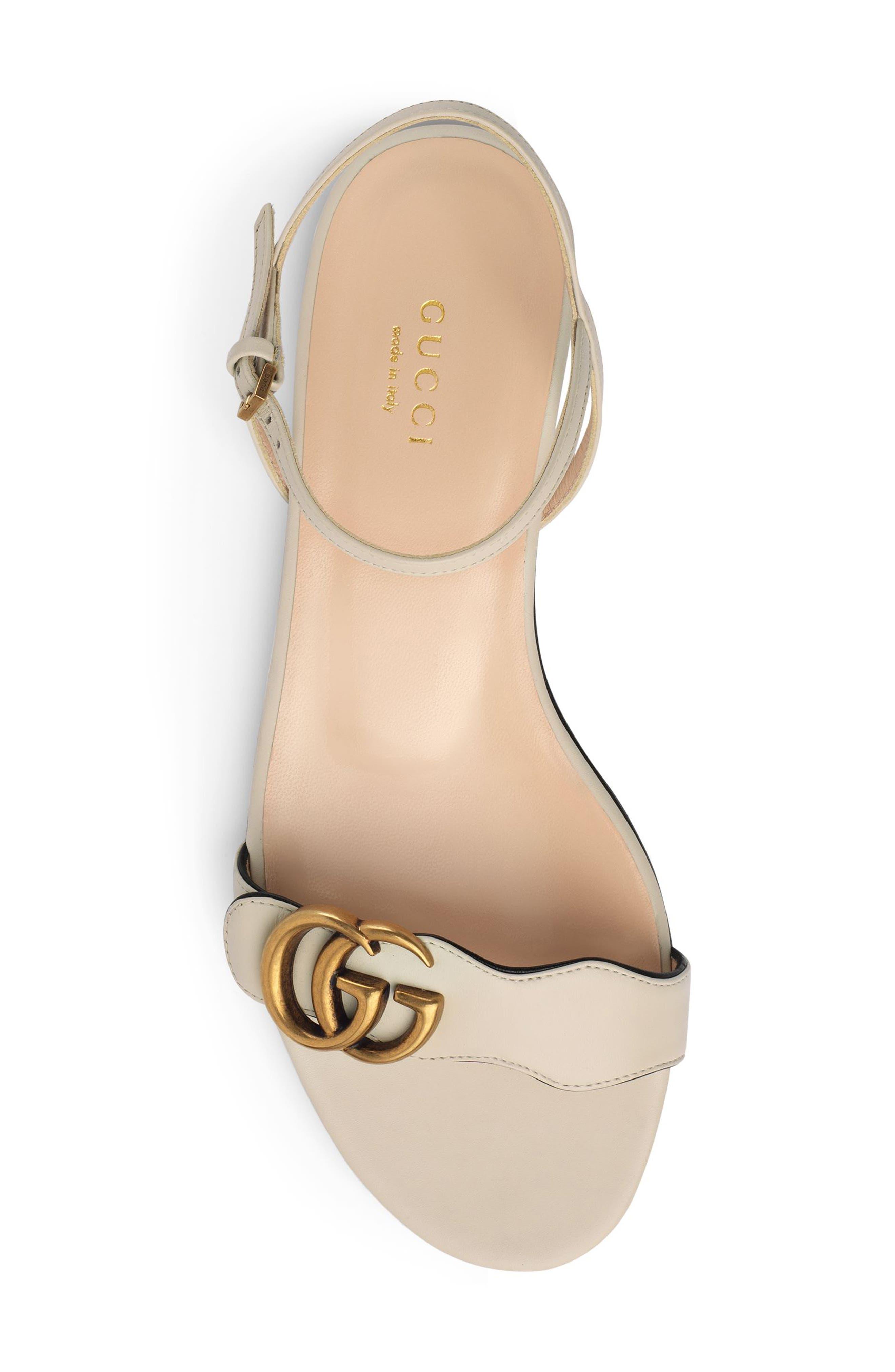 GUCCI, Marmont Quarter Strap Flat Sandal, Alternate thumbnail 4, color, MYSTIC WHITE