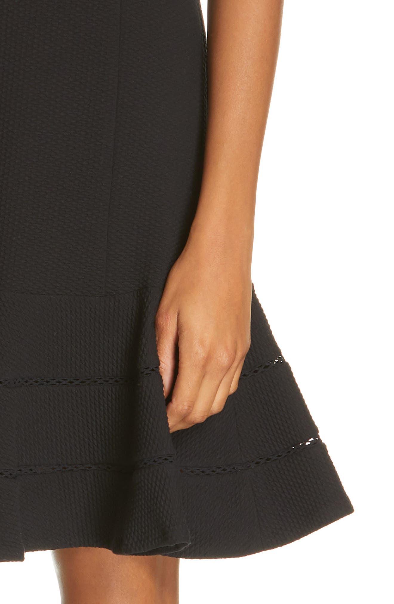 REBECCA TAYLOR, Fit & Flare Dress, Alternate thumbnail 4, color, BLACK