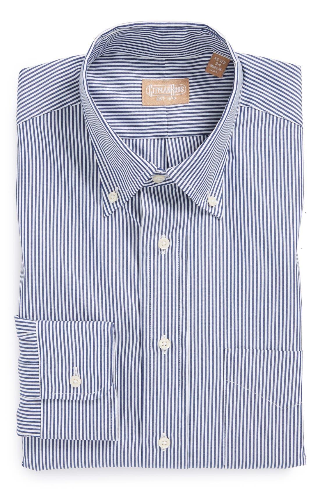 GITMAN, Regular Fit Bengal Stripe Cotton Broadcloth Button Down Dress Shirt, Main thumbnail 1, color, NAVY