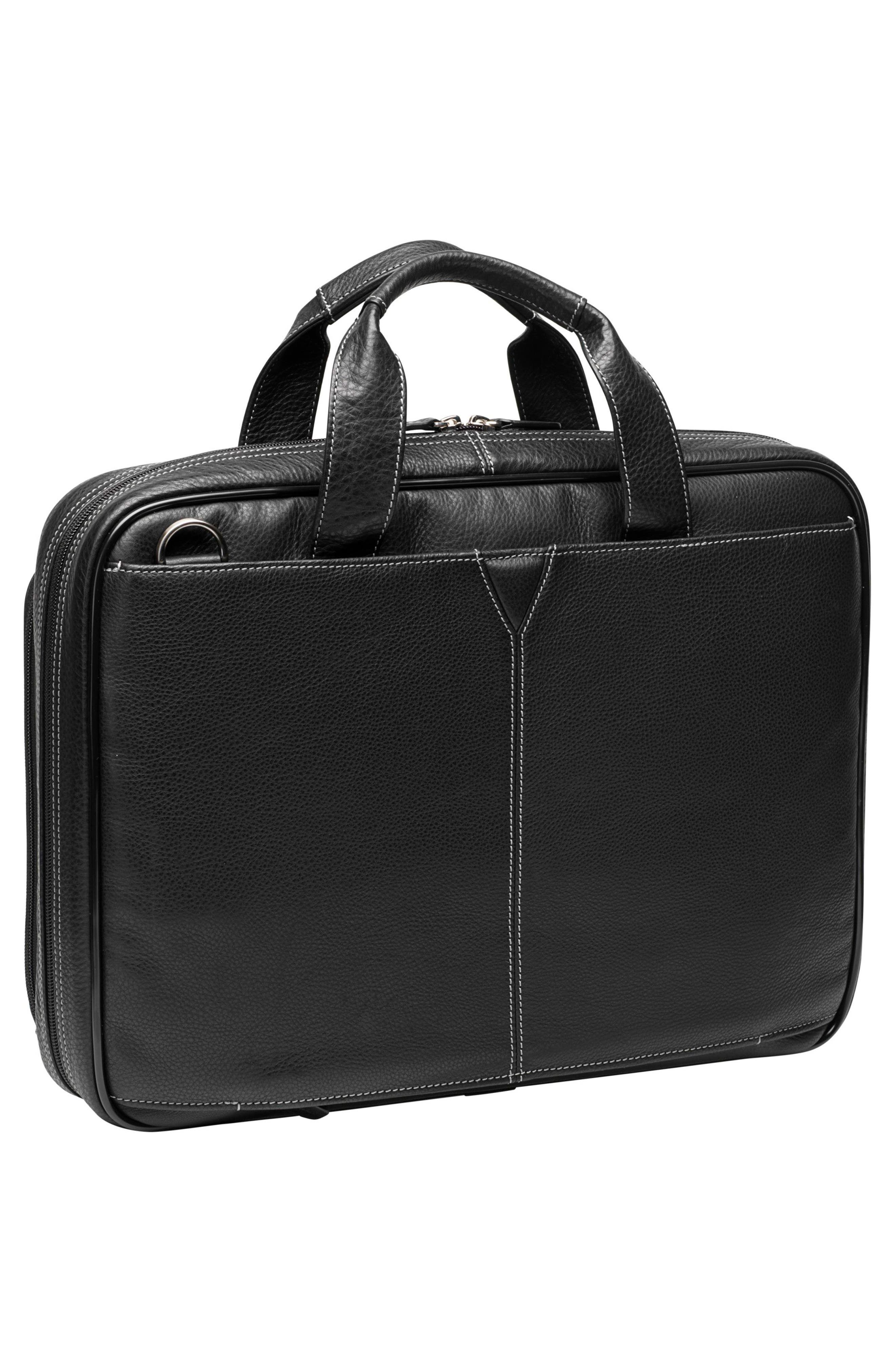 JOHNSTON & MURPHY, Leather Briefcase, Alternate thumbnail 2, color, BLACK