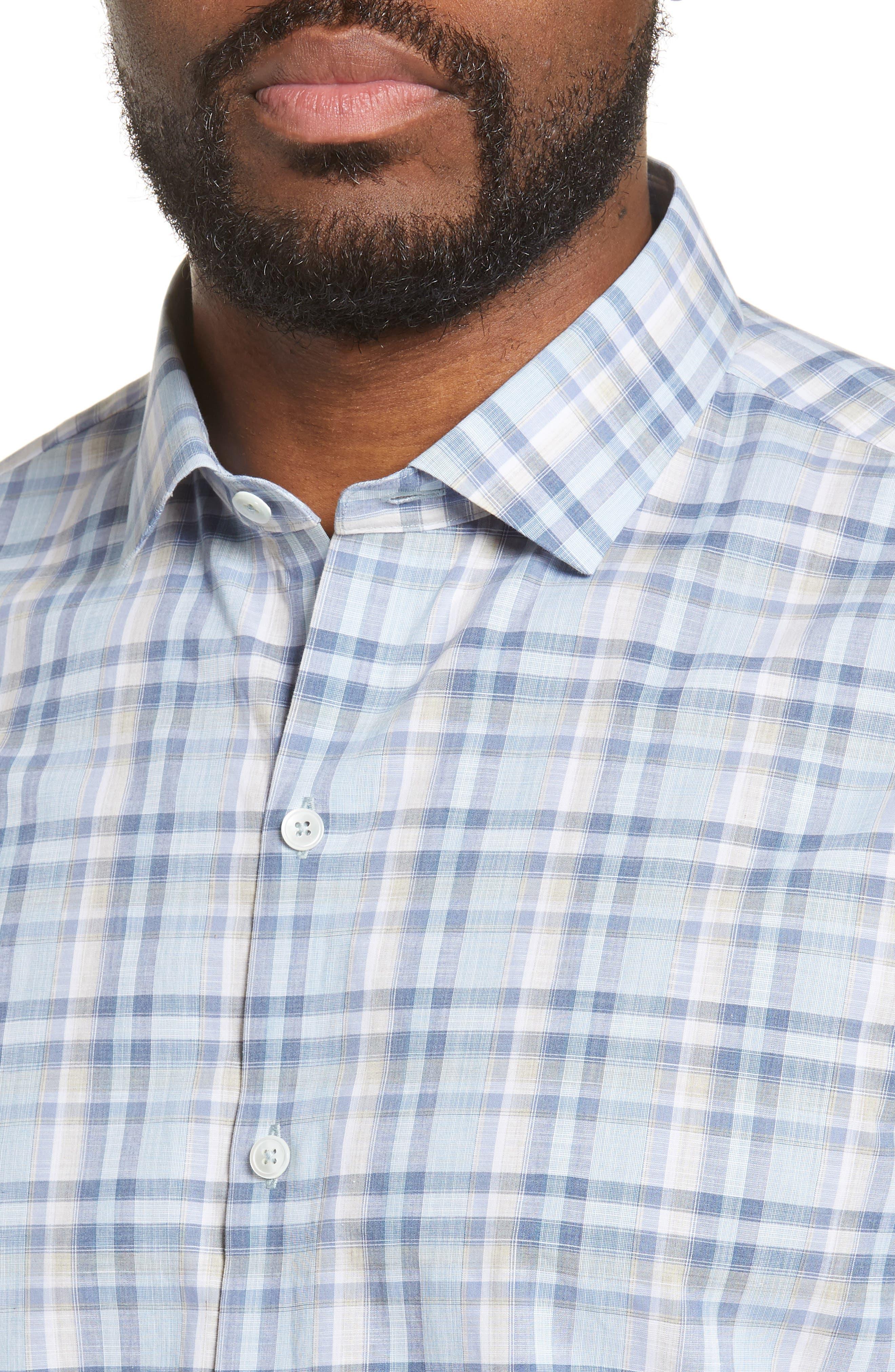ZACHARY PRELL, Anthony Regular Fit Plaid Sport Shirt, Alternate thumbnail 2, color, LT BLUE