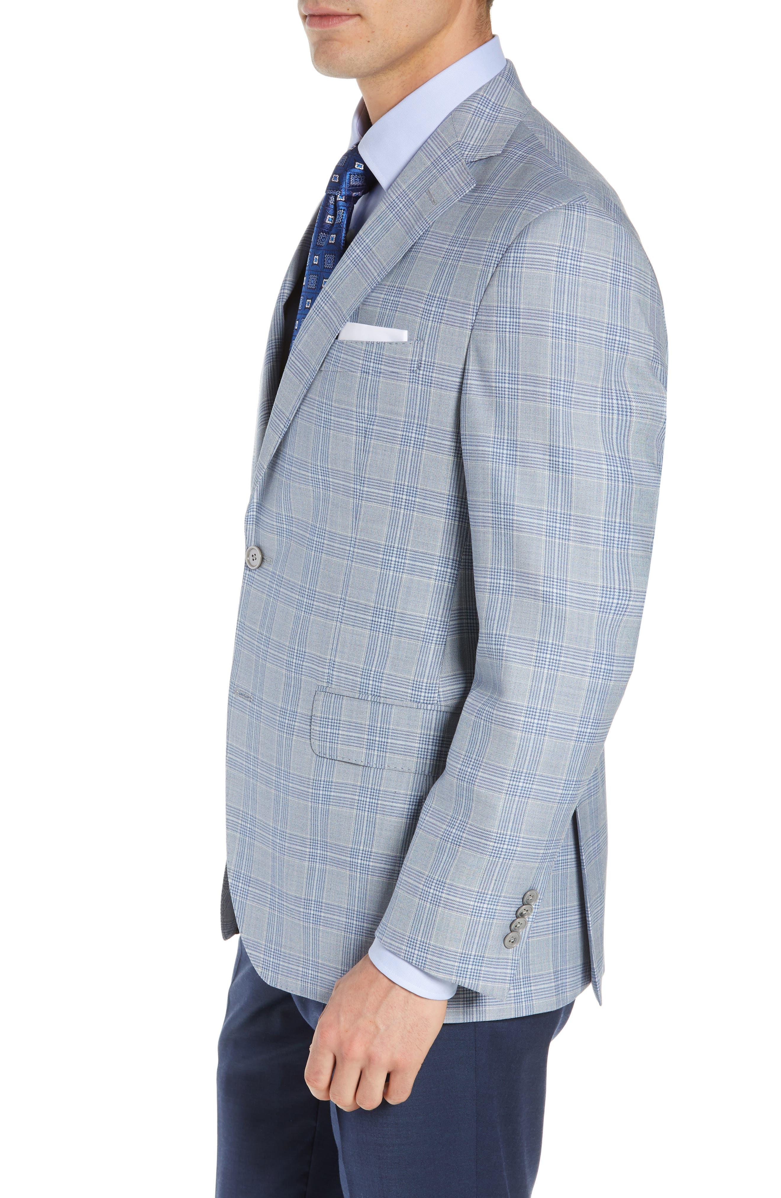DAVID DONAHUE, Arnold Classic Fit Plaid Wool Sport Coat, Alternate thumbnail 3, color, BLUE