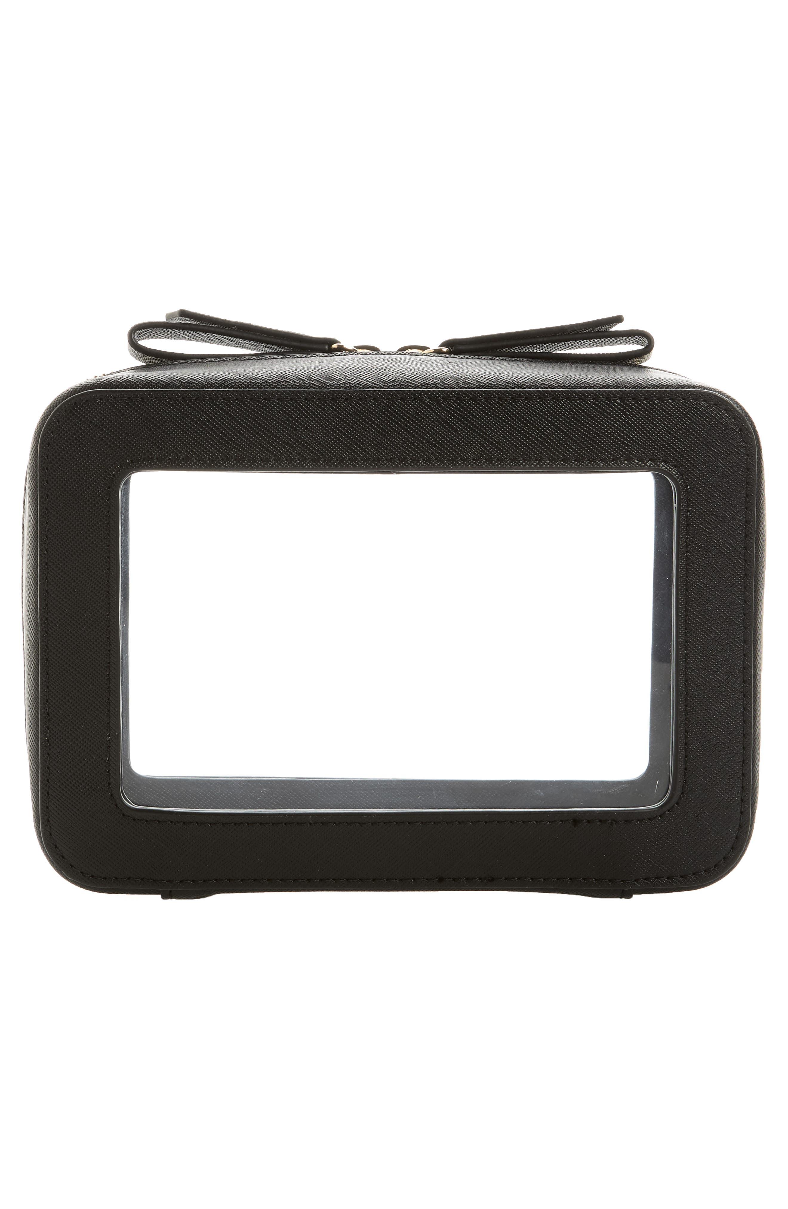 TRUFFLE, Clarity Jetset Cosmetics Case, Alternate thumbnail 5, color, BLACK