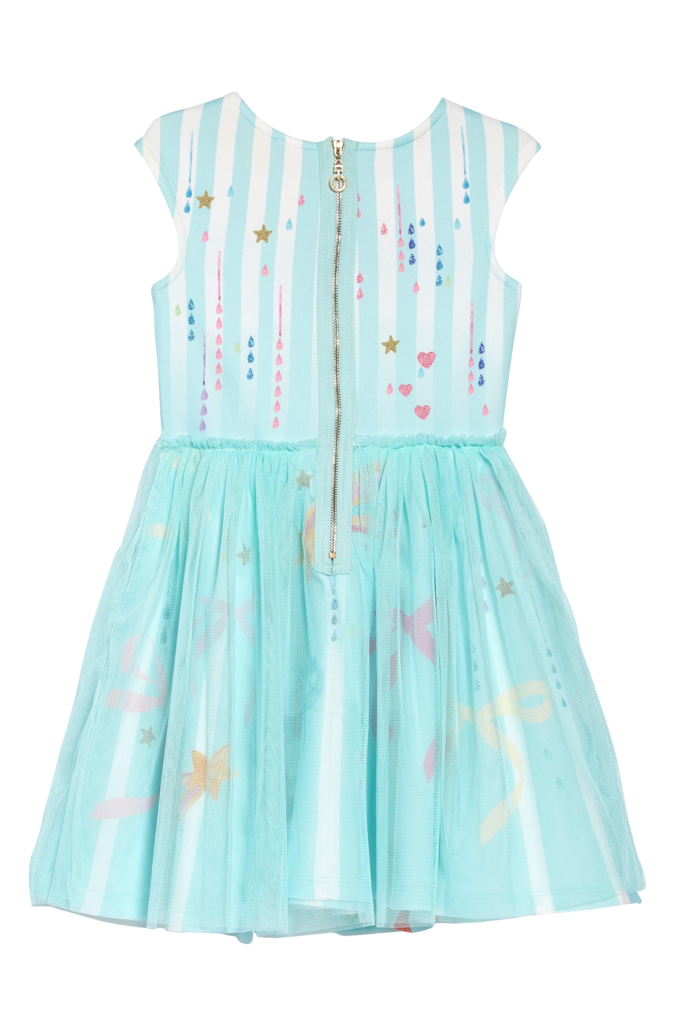 HANNAH BANANA, Bow & Unicorn Fit & Flare Tulle Dress, Alternate thumbnail 2, color, MINT MULTI